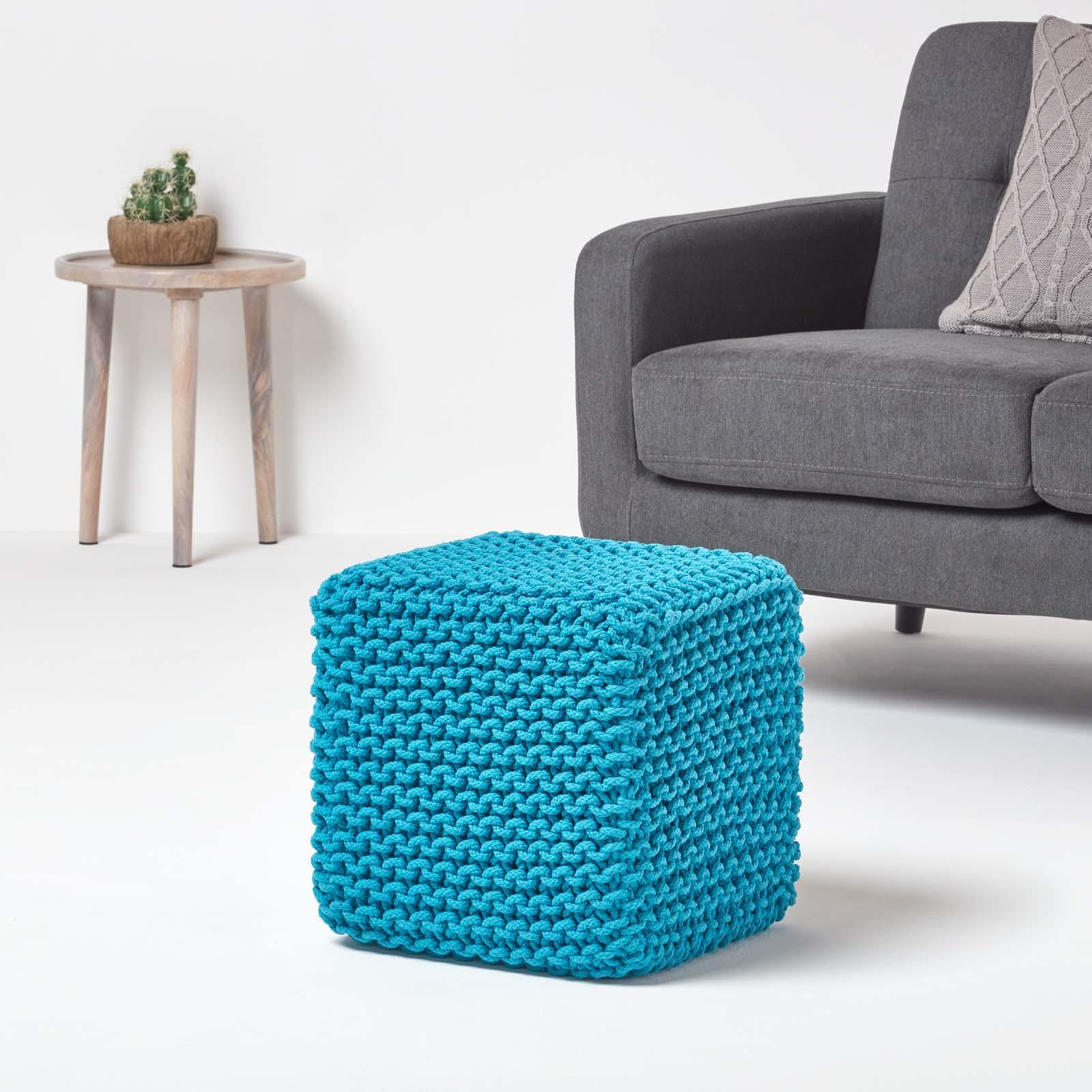 Hand-Knitted-100-Cotton-Pouffes-Round-Sphere-Or-Cube-Square-Chunky-Footstools thumbnail 183
