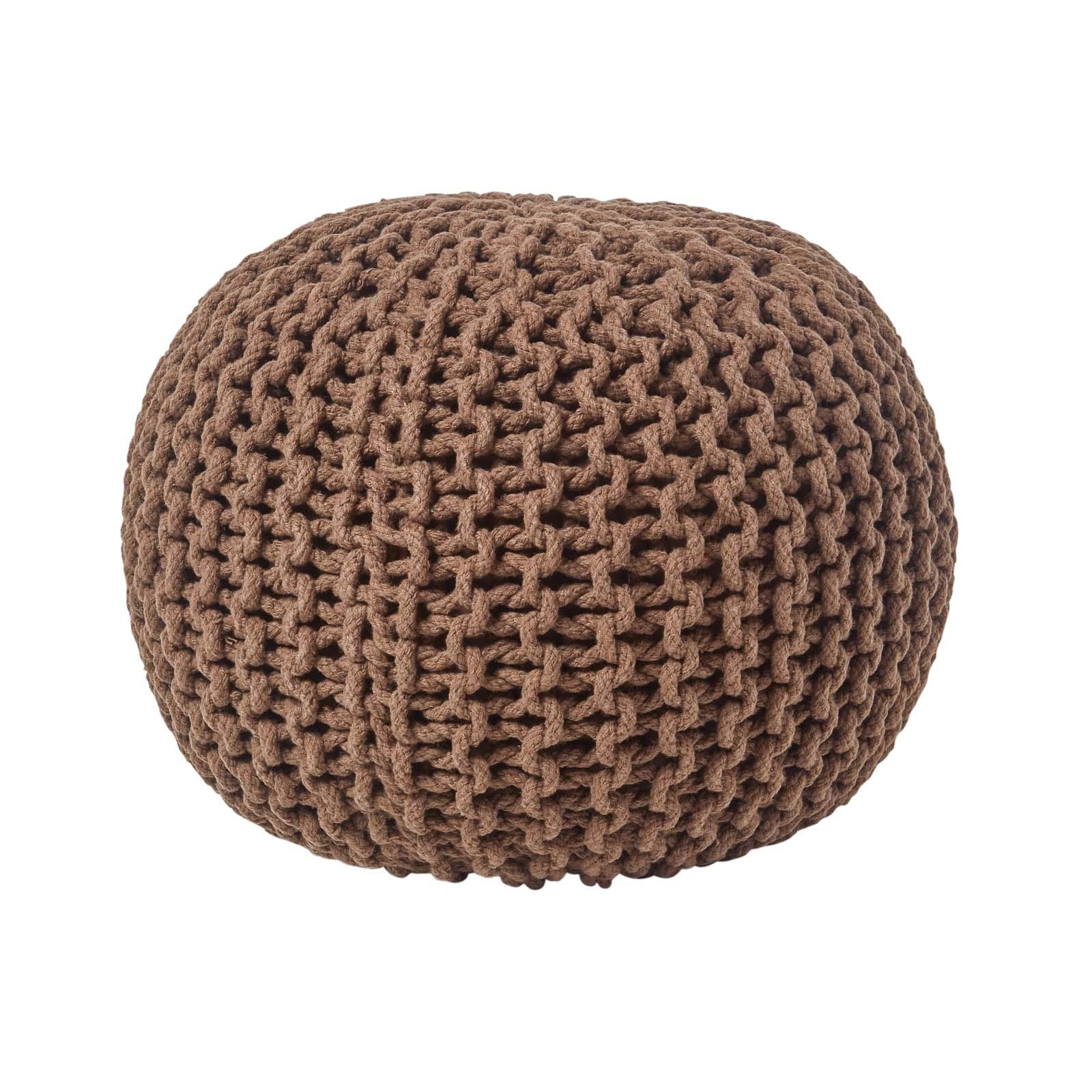 Hand-Knitted-100-Cotton-Pouffes-Round-Sphere-Or-Cube-Square-Chunky-Footstools thumbnail 28