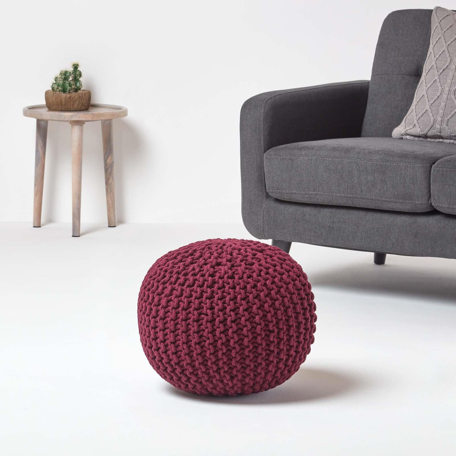 Hand-Knitted-100-Cotton-Pouffes-Round-Sphere-Or-Cube-Square-Chunky-Footstools thumbnail 153