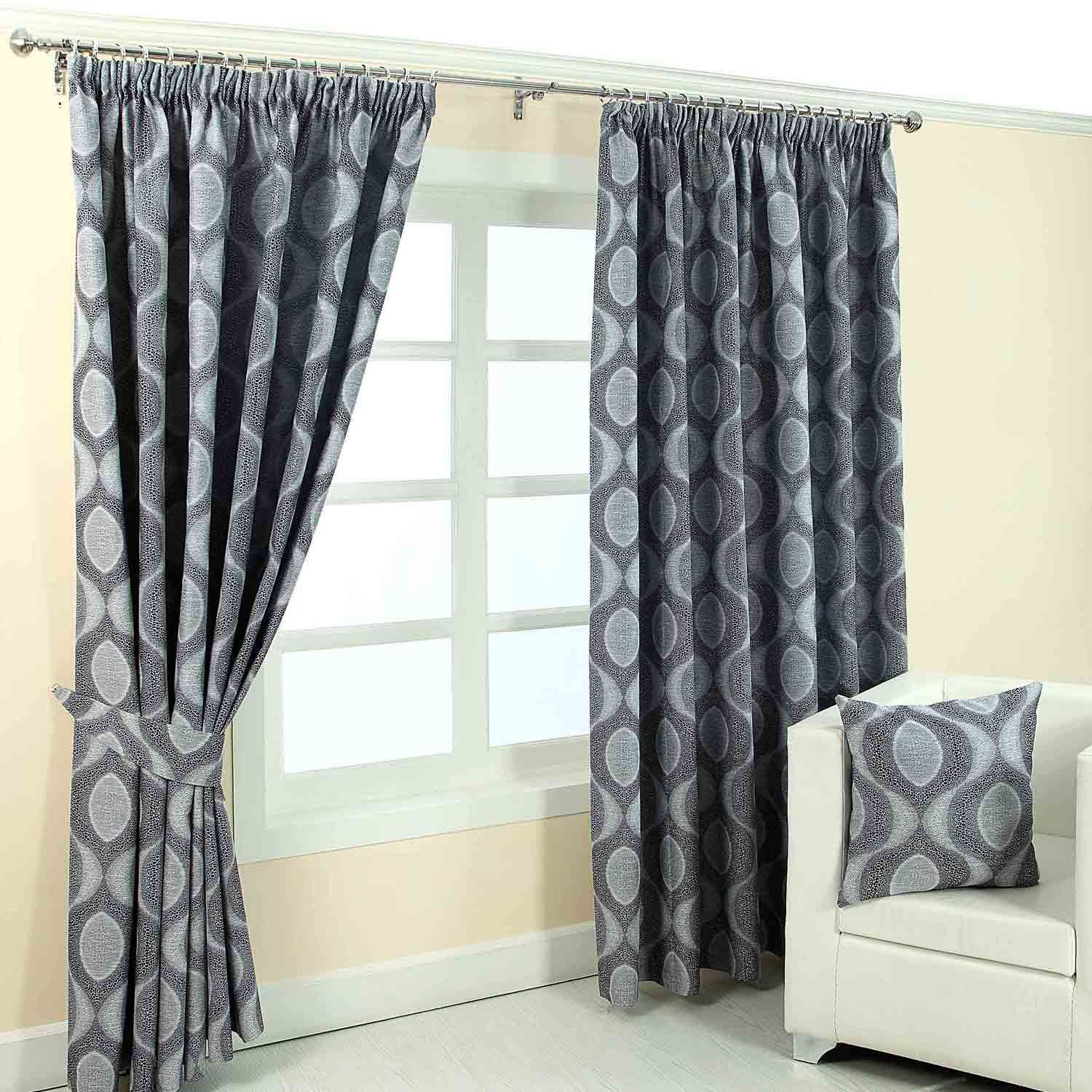 Pencil Pleat Fully Lined Ready Made Jacquard Curtains