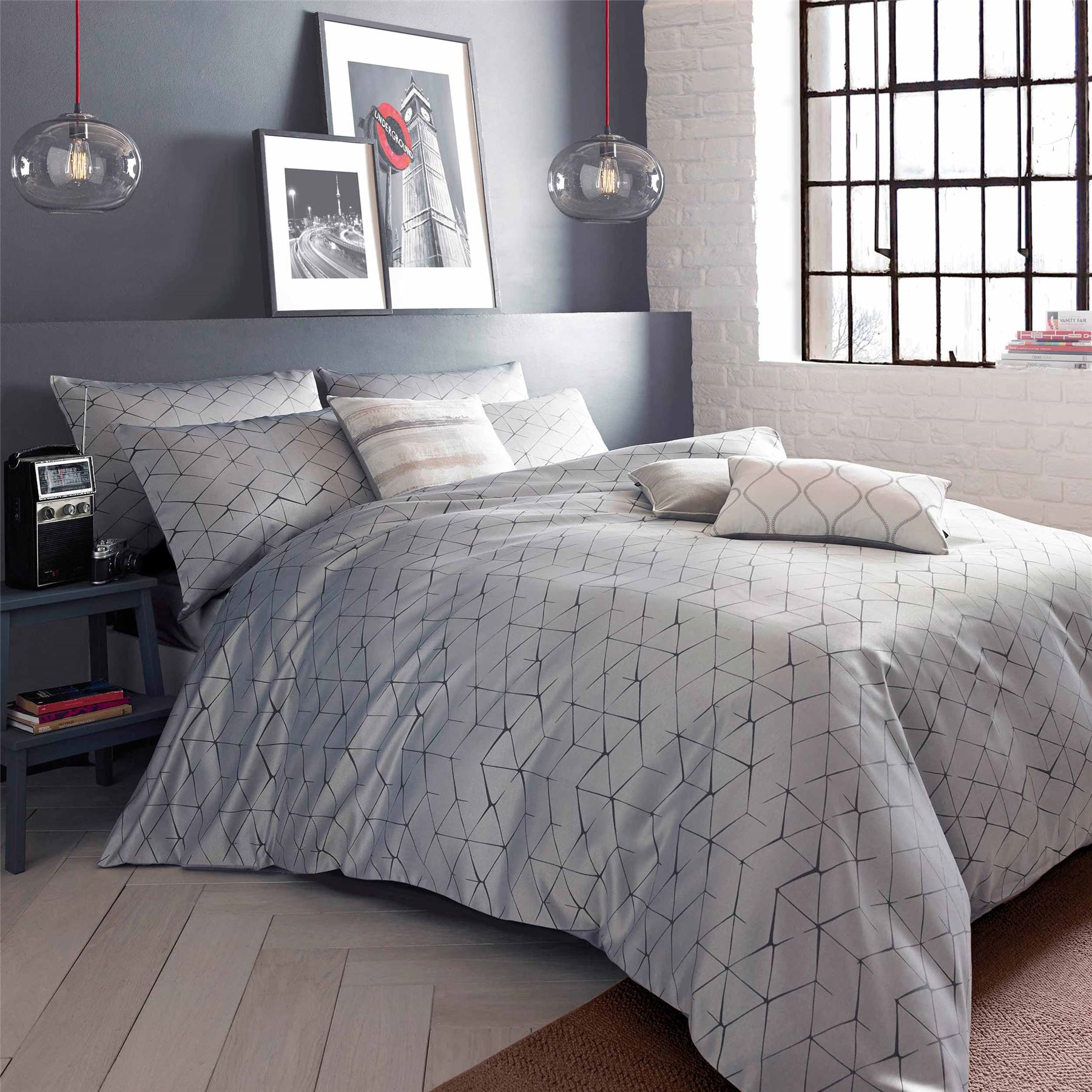 blueprint danuka grey and ivory geometric quilt cover set with  - blueprintdanukagreyandivorygeometricquiltcover