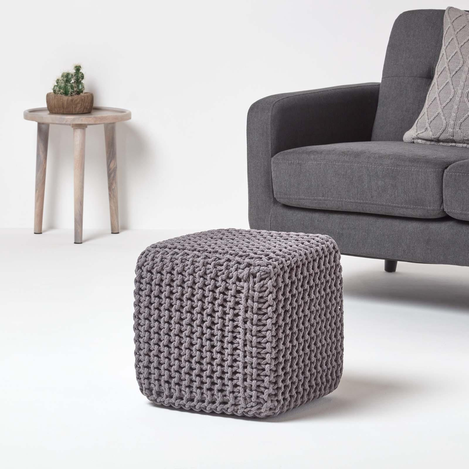 Hand-Knitted-100-Cotton-Pouffes-Round-Sphere-Or-Cube-Square-Chunky-Footstools thumbnail 52