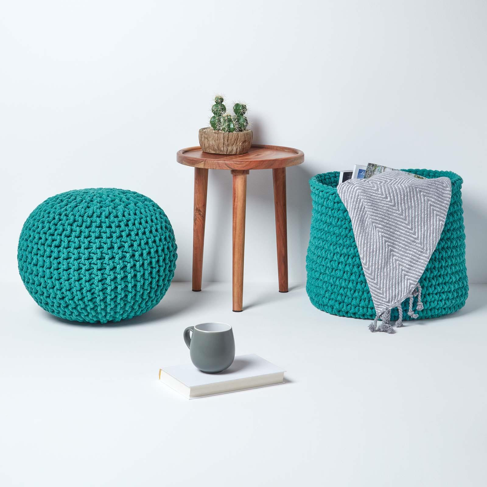 Hand-Knitted-100-Cotton-Pouffes-Round-Sphere-Or-Cube-Square-Chunky-Footstools thumbnail 198