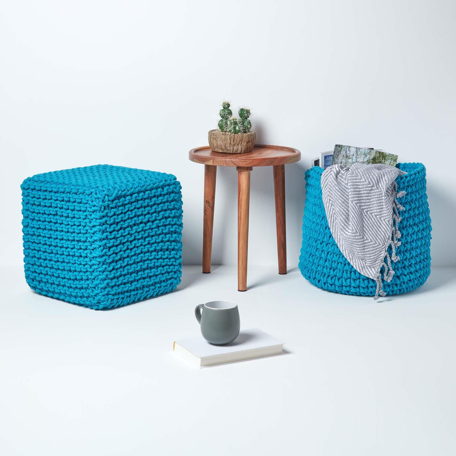 Hand-Knitted-100-Cotton-Pouffes-Round-Sphere-Or-Cube-Square-Chunky-Footstools thumbnail 186