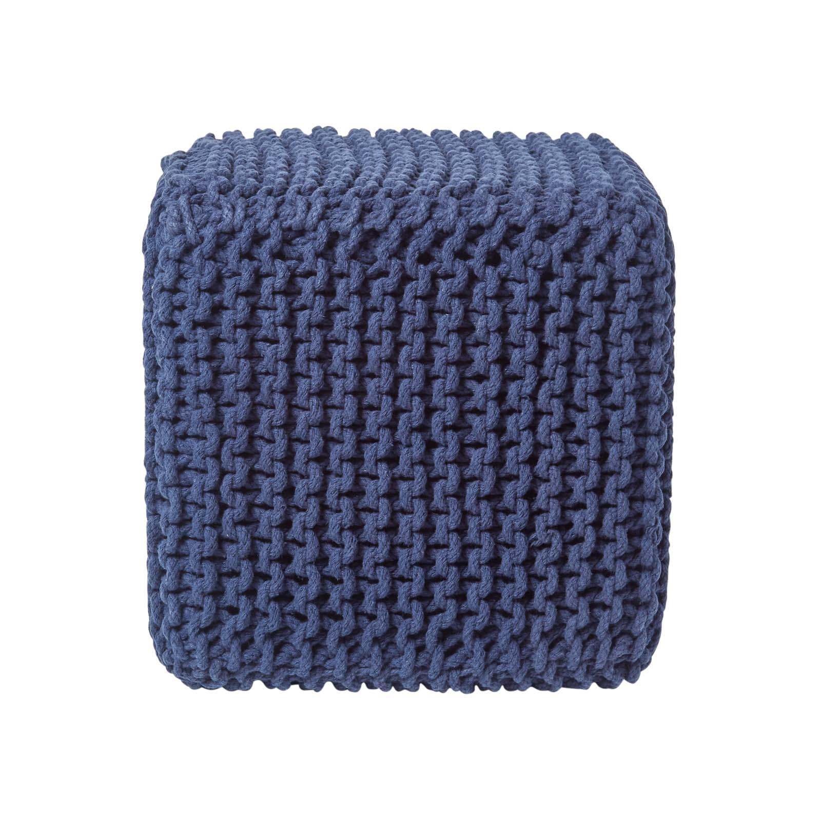 Hand-Knitted-100-Cotton-Pouffes-Round-Sphere-Or-Cube-Square-Chunky-Footstools thumbnail 104