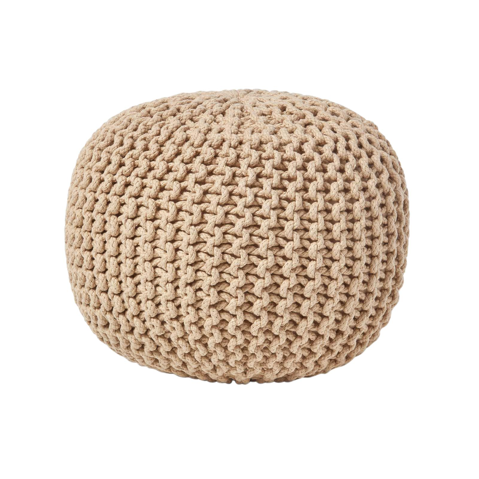 Hand-Knitted-100-Cotton-Pouffes-Round-Sphere-Or-Cube-Square-Chunky-Footstools thumbnail 74