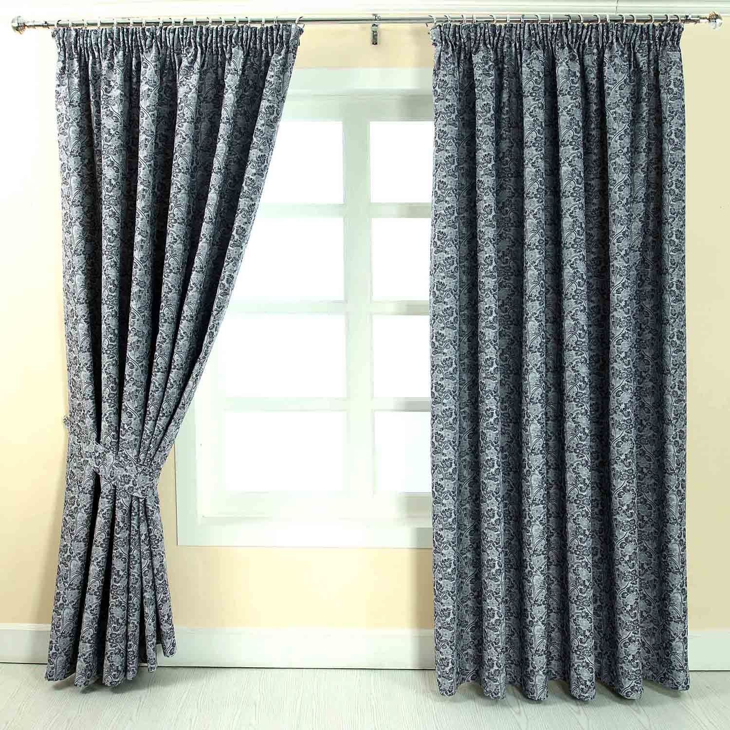 Pencil Pleat Jacquard Vintage Floral Curtains Fully Lined Blue Gold ...