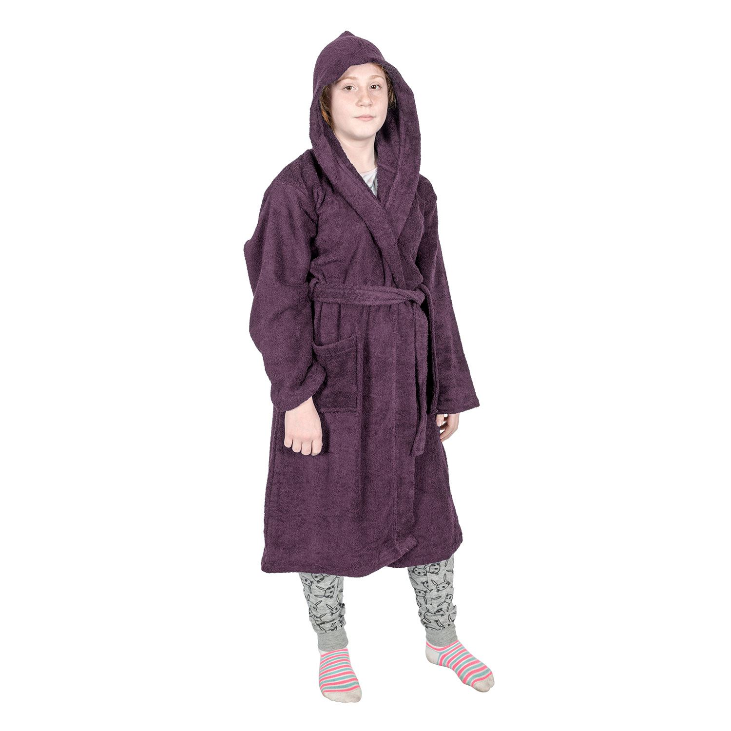 Kids Boys Girls Bath Robe Hooded Dressing Gown Egyptian Cotton Terry ... 75143fb75