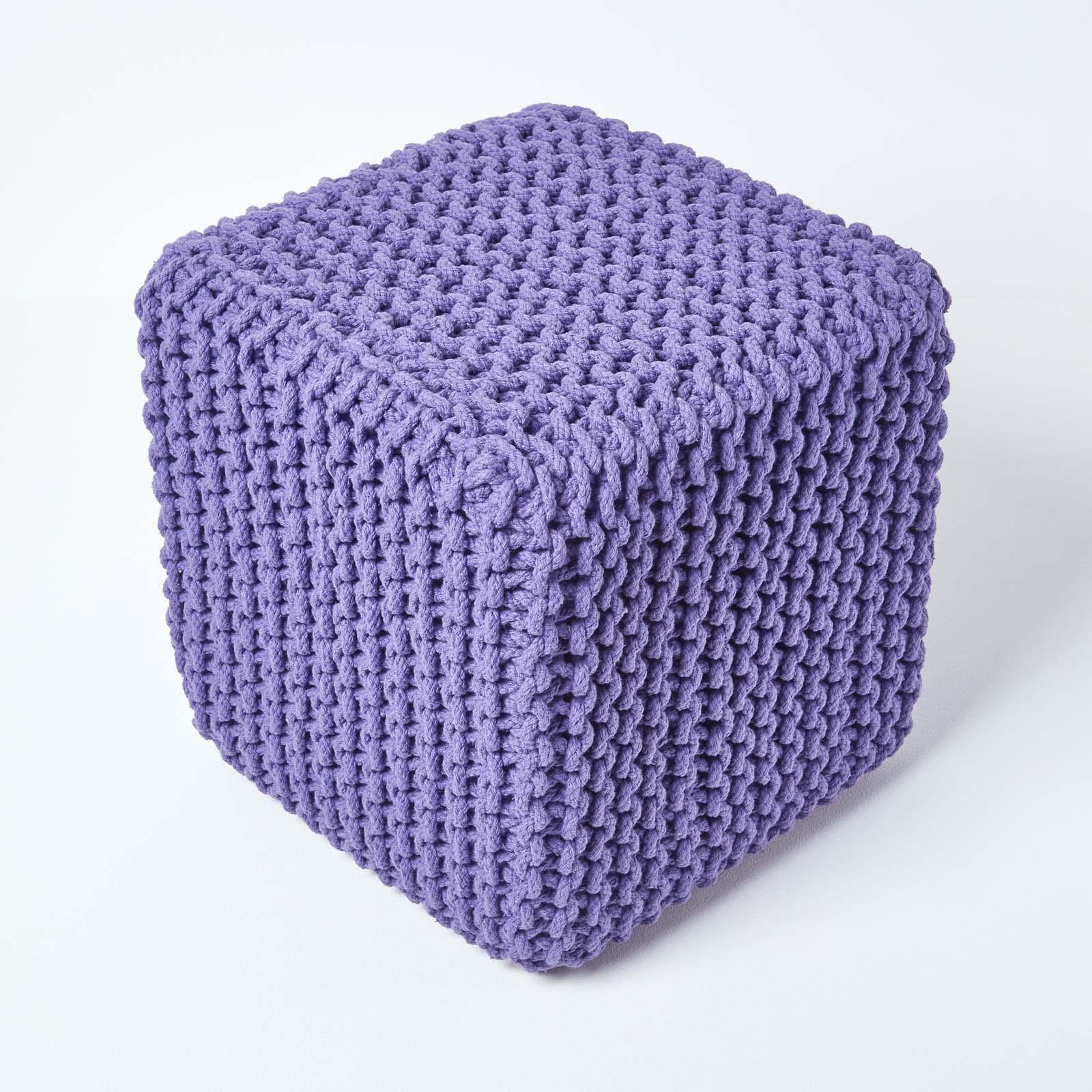 Hand-Knitted-100-Cotton-Pouffes-Round-Sphere-Or-Cube-Square-Chunky-Footstools thumbnail 166