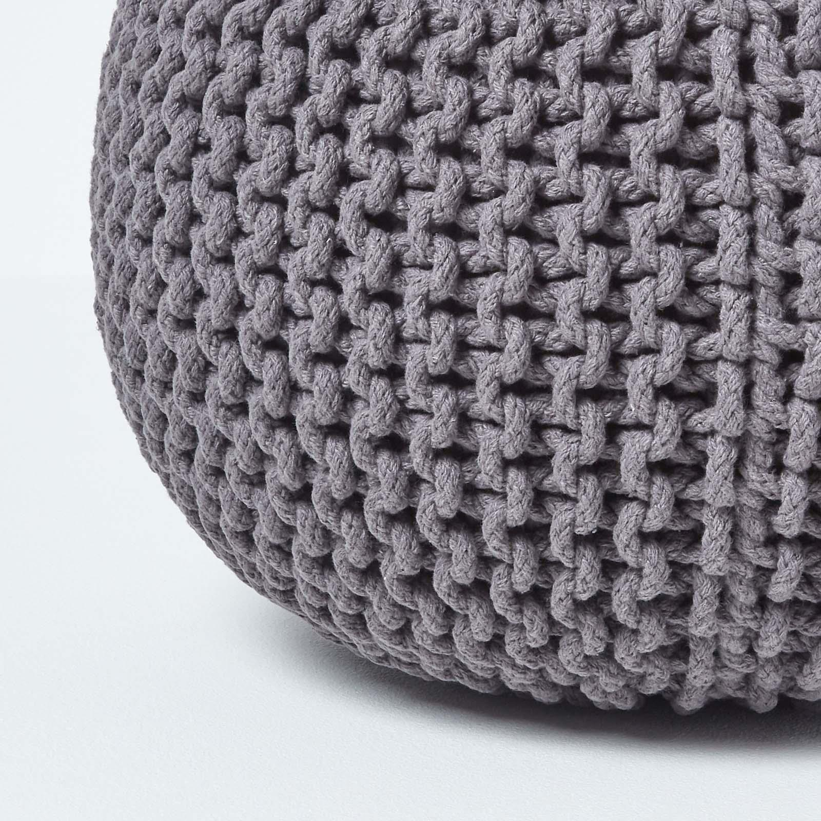Hand-Knitted-100-Cotton-Pouffes-Round-Sphere-Or-Cube-Square-Chunky-Footstools thumbnail 59