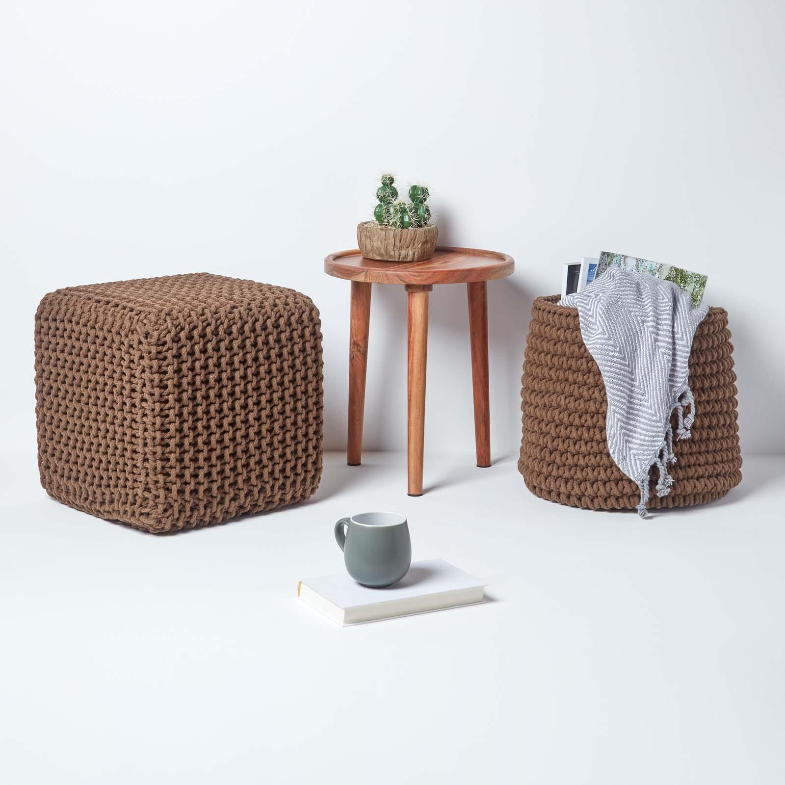 Hand-Knitted-100-Cotton-Pouffes-Round-Sphere-Or-Cube-Square-Chunky-Footstools thumbnail 33