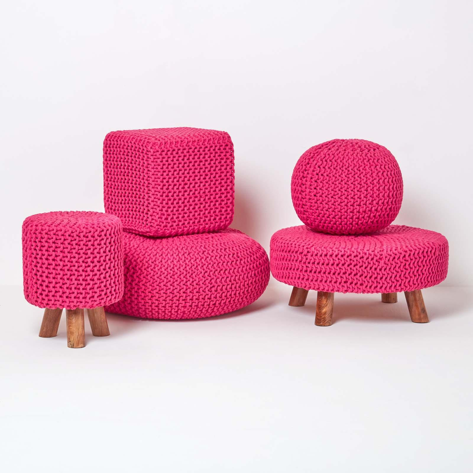 Hand-Knitted-100-Cotton-Pouffes-Round-Sphere-Or-Cube-Square-Chunky-Footstools thumbnail 66