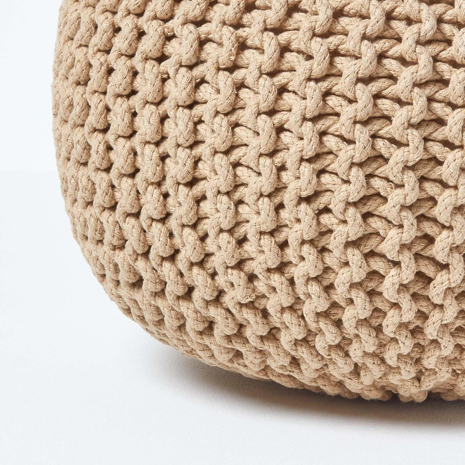 Hand-Knitted-100-Cotton-Pouffes-Round-Sphere-Or-Cube-Square-Chunky-Footstools thumbnail 82