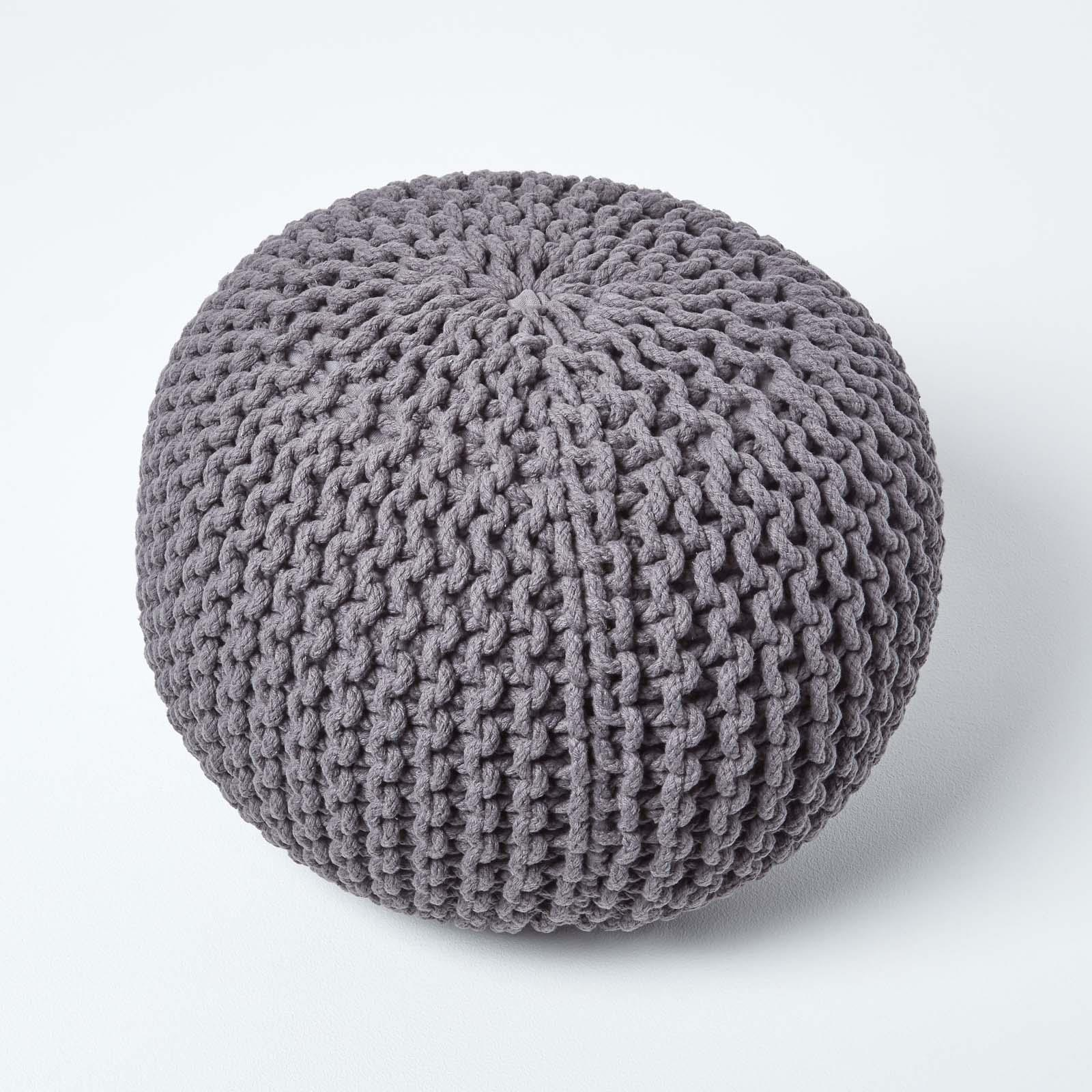 Hand-Knitted-100-Cotton-Pouffes-Round-Sphere-Or-Cube-Square-Chunky-Footstools thumbnail 58