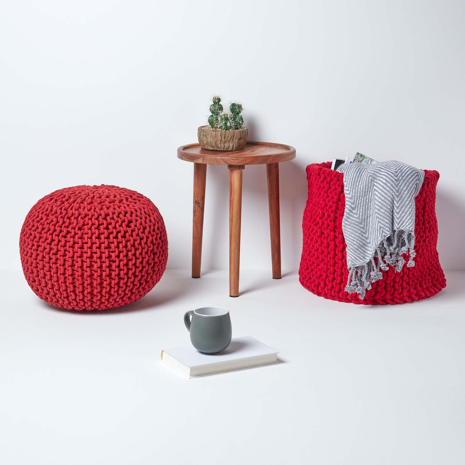 Hand-Knitted-100-Cotton-Pouffes-Round-Sphere-Or-Cube-Square-Chunky-Footstools thumbnail 175