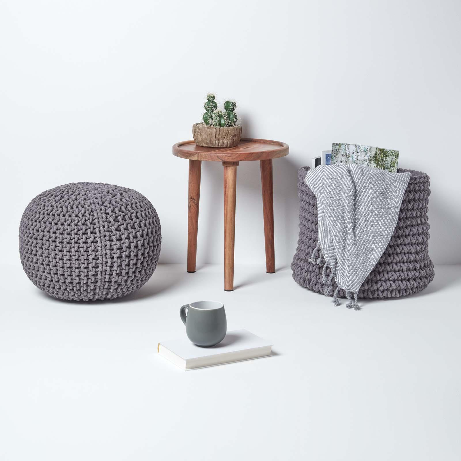 Hand-Knitted-100-Cotton-Pouffes-Round-Sphere-Or-Cube-Square-Chunky-Footstools thumbnail 60
