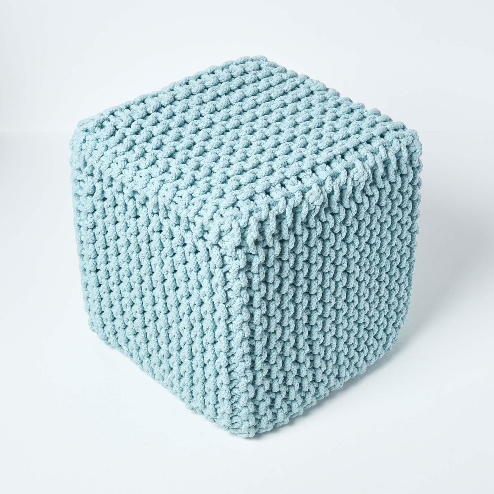 Hand-Knitted-100-Cotton-Pouffes-Round-Sphere-Or-Cube-Square-Chunky-Footstools thumbnail 135