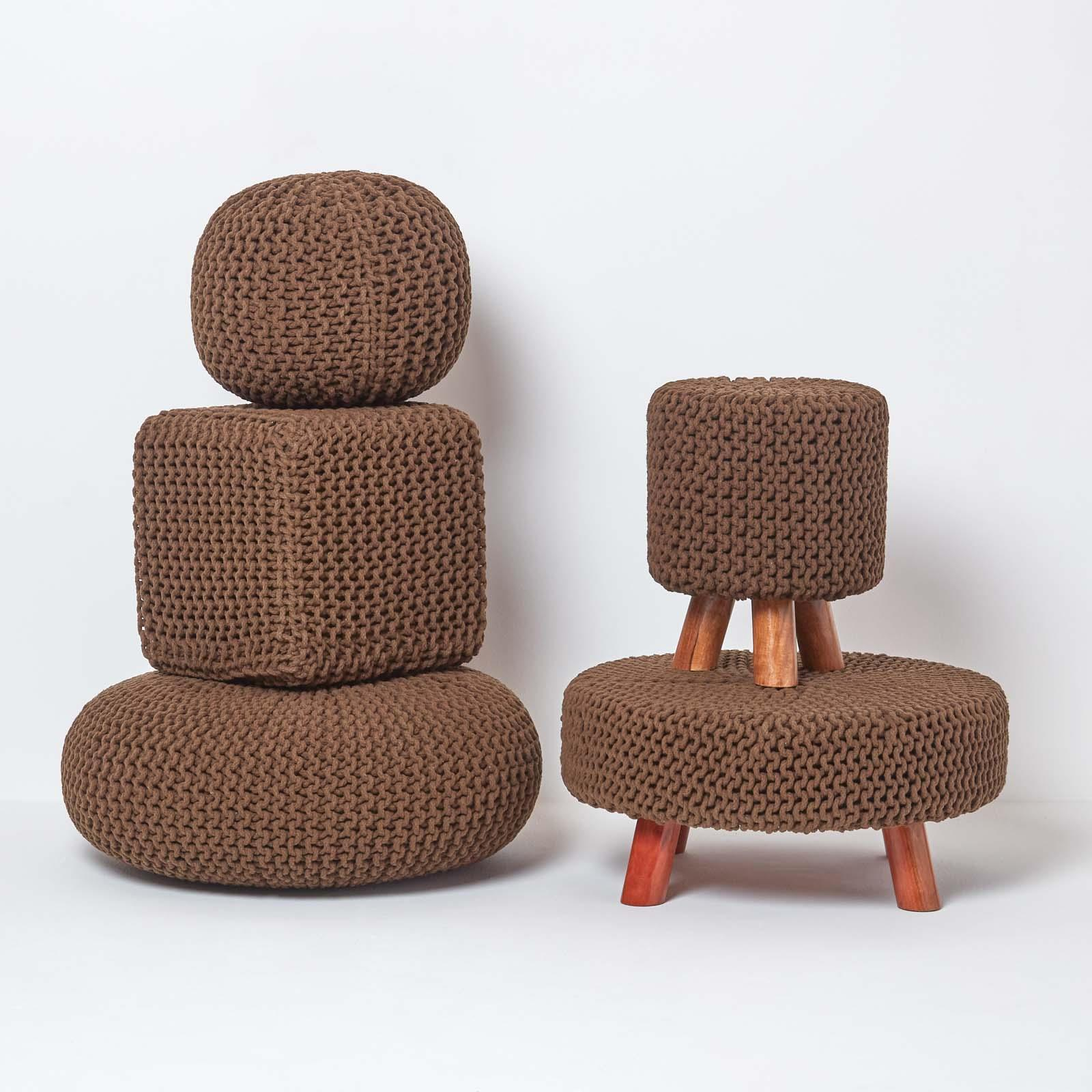 Hand-Knitted-100-Cotton-Pouffes-Round-Sphere-Or-Cube-Square-Chunky-Footstools thumbnail 32