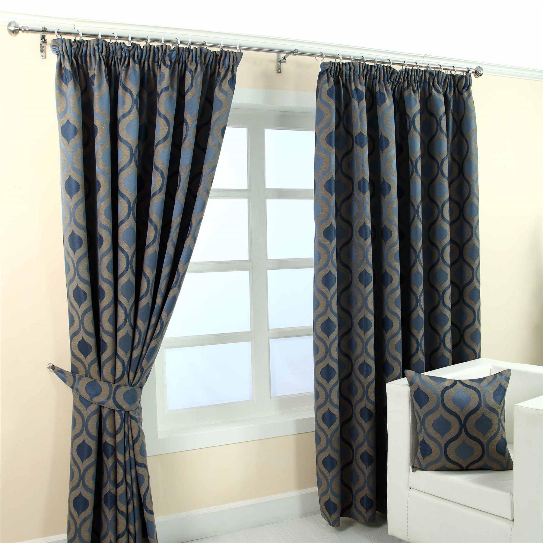 Pencil Pleat Jacquard Curtains Modern Wave Fully Lined Blue Cream Green Purple Ebay