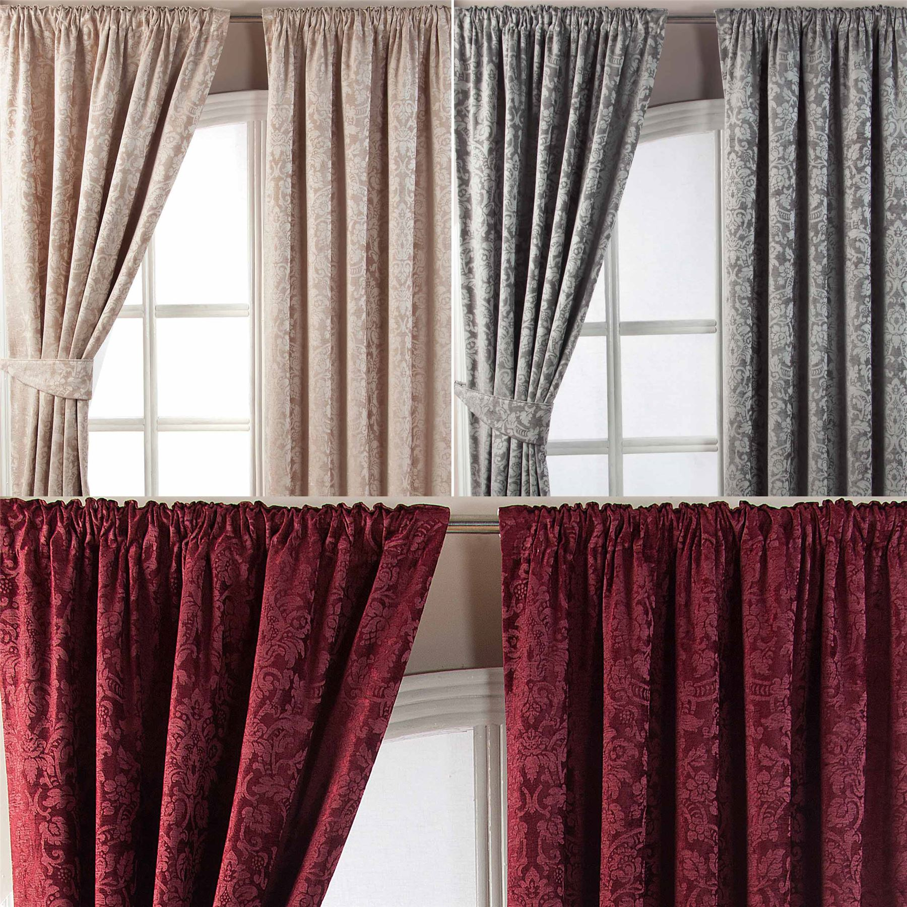 Velvet Jacquard Pencil Pleat Lined Ready Made Curtains