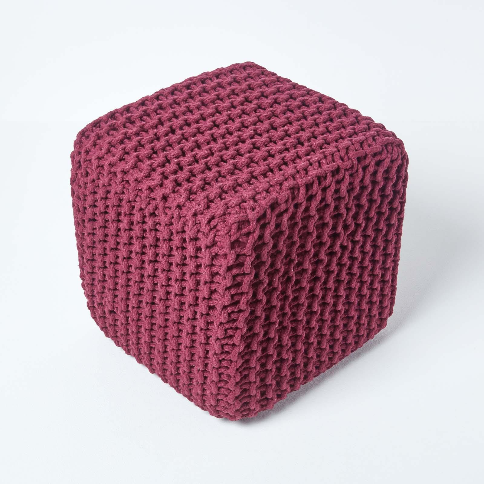 Hand-Knitted-100-Cotton-Pouffes-Round-Sphere-Or-Cube-Square-Chunky-Footstools thumbnail 159