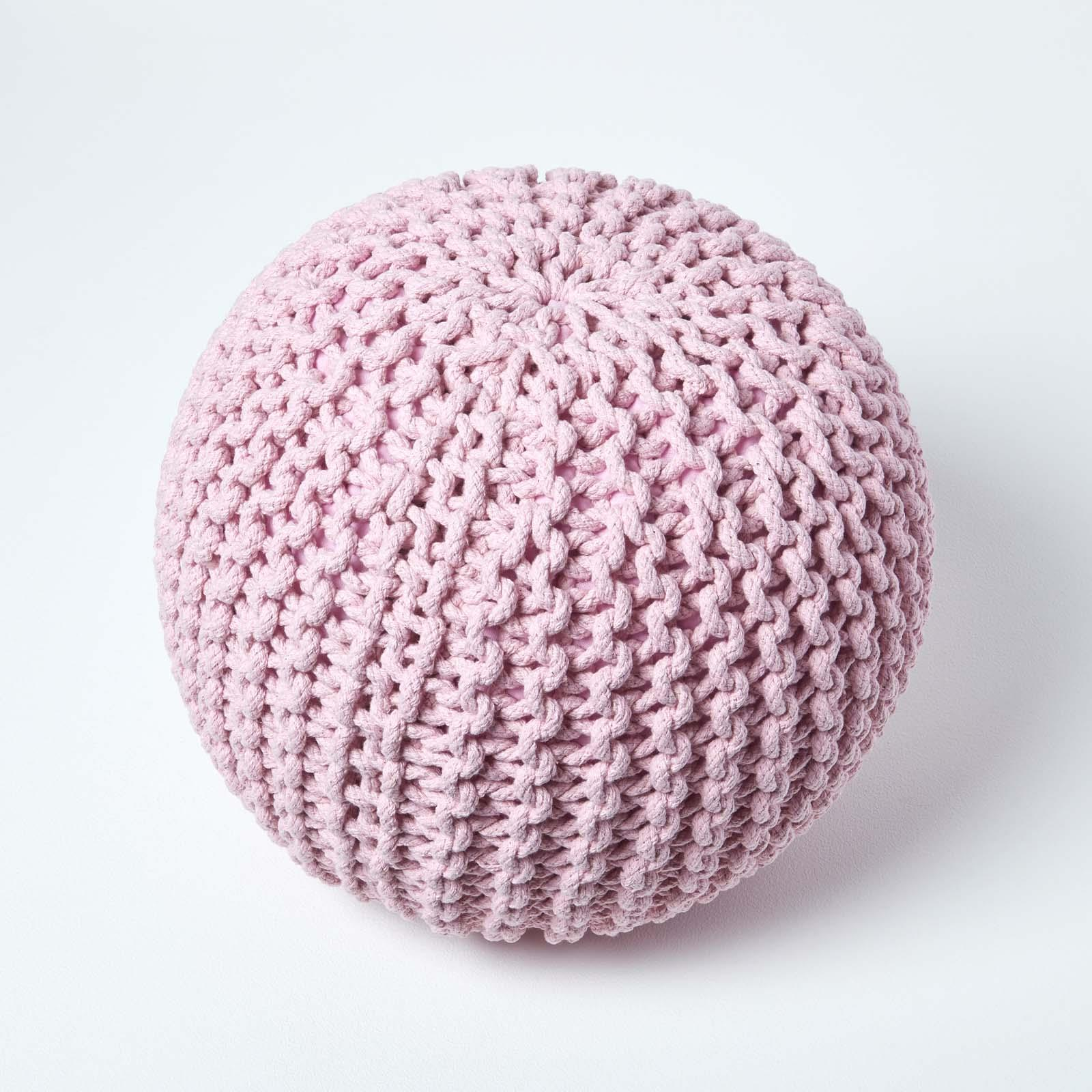 Hand-Knitted-100-Cotton-Pouffes-Round-Sphere-Or-Cube-Square-Chunky-Footstools thumbnail 142