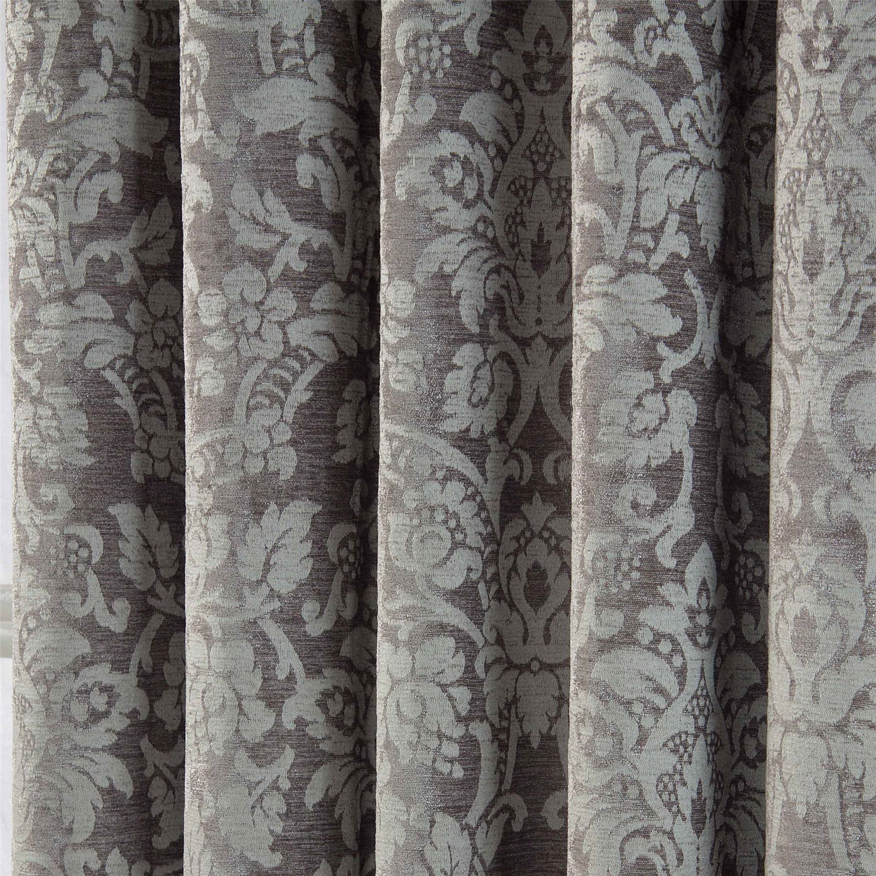 Velvet Jacquard Pencil Pleat Lined Ready Made Curtains Pair Grey - Ready made curtains white