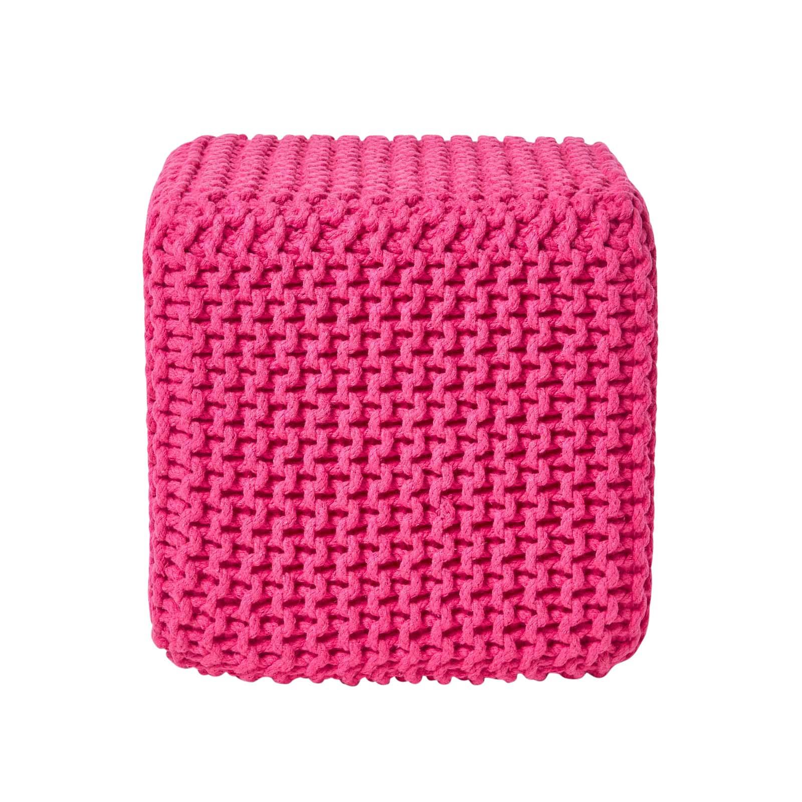 Hand-Knitted-100-Cotton-Pouffes-Round-Sphere-Or-Cube-Square-Chunky-Footstools thumbnail 62