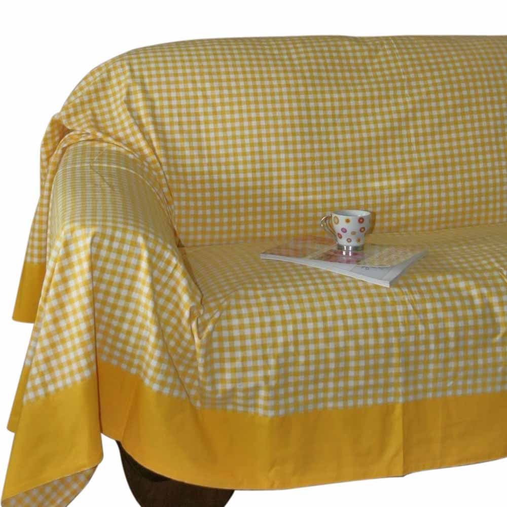 Gingham Check Extra Large Cotton Sofa Throw Bed Covers Settee