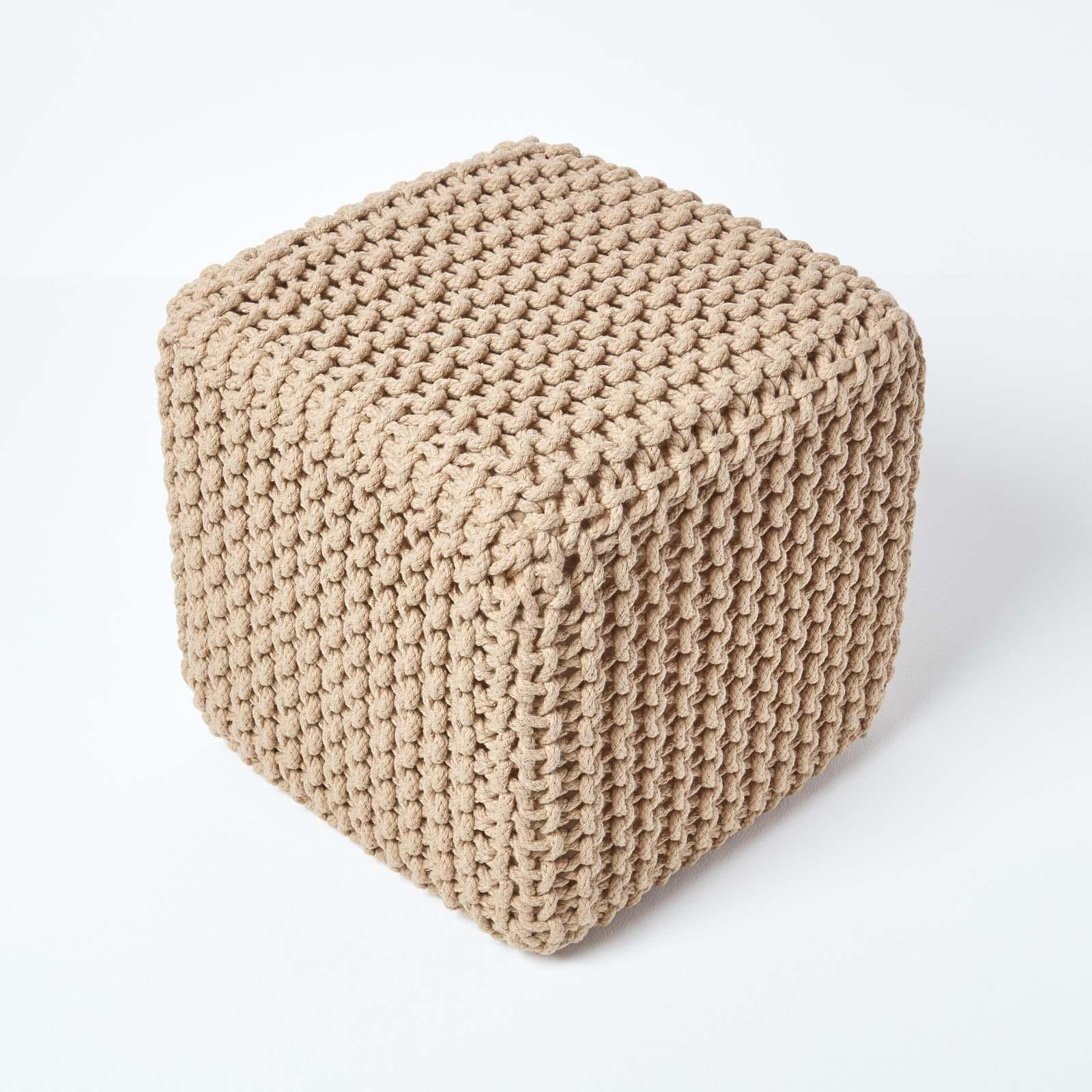 Hand-Knitted-100-Cotton-Pouffes-Round-Sphere-Or-Cube-Square-Chunky-Footstools thumbnail 76