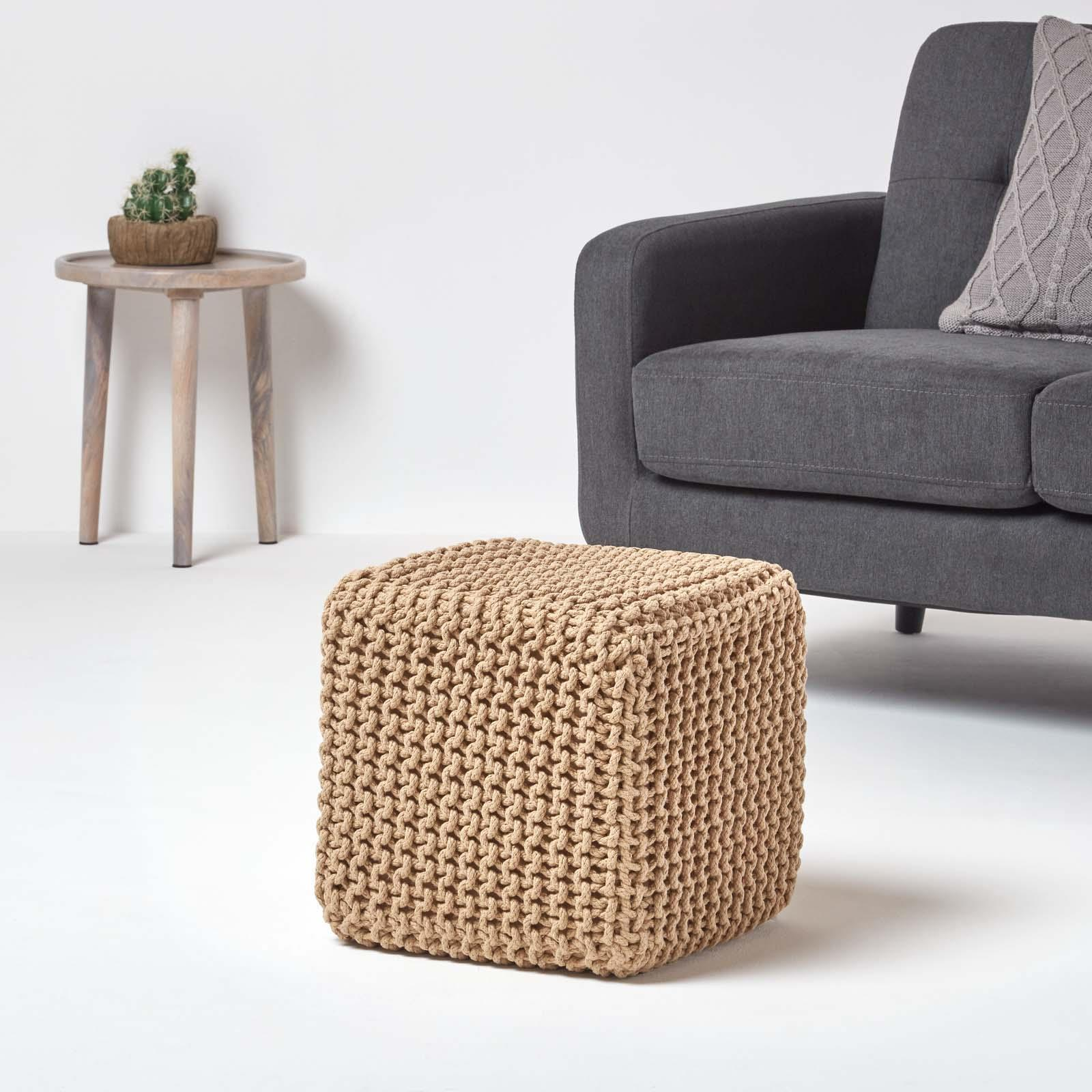 Hand-Knitted-100-Cotton-Pouffes-Round-Sphere-Or-Cube-Square-Chunky-Footstools thumbnail 75