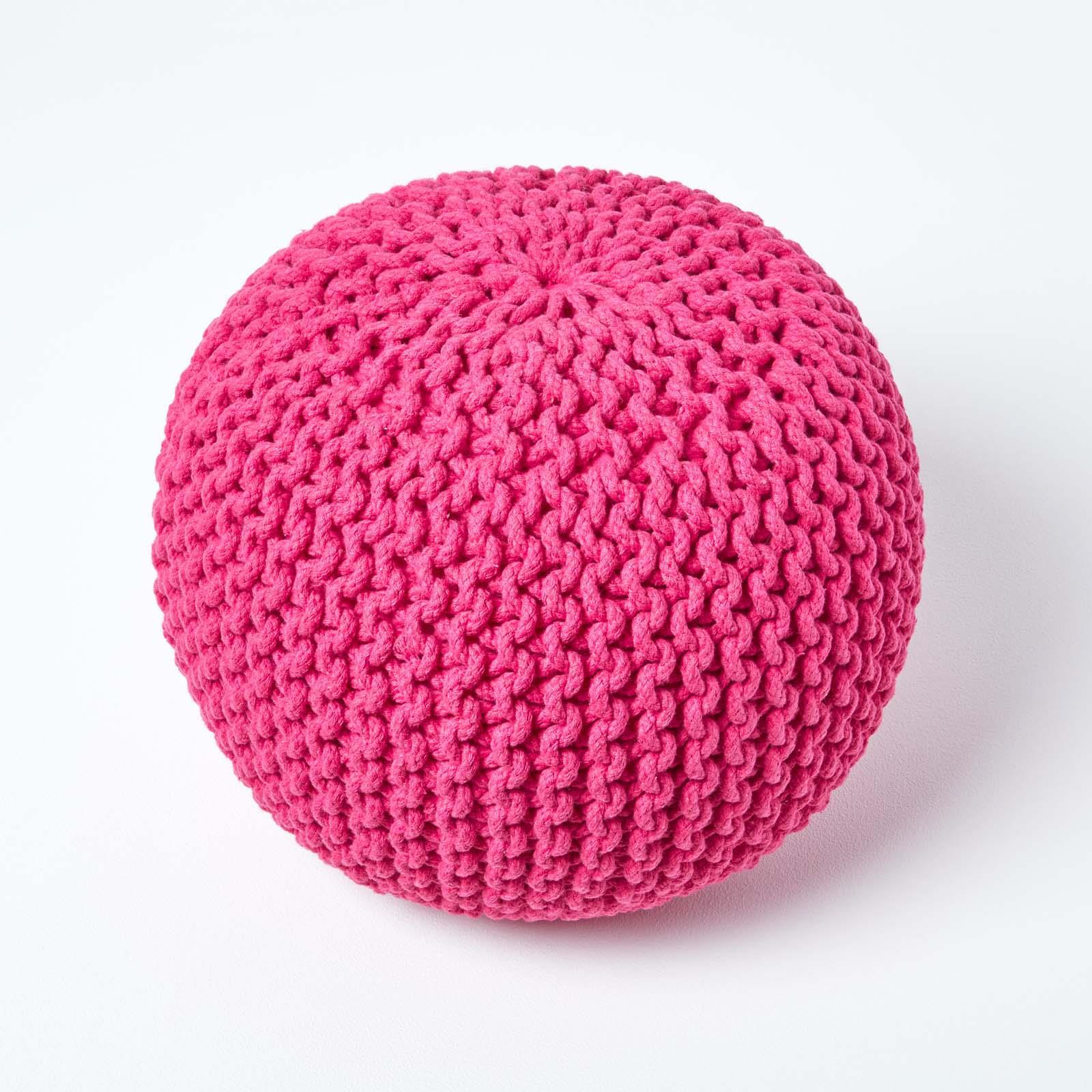 Hand-Knitted-100-Cotton-Pouffes-Round-Sphere-Or-Cube-Square-Chunky-Footstools thumbnail 64
