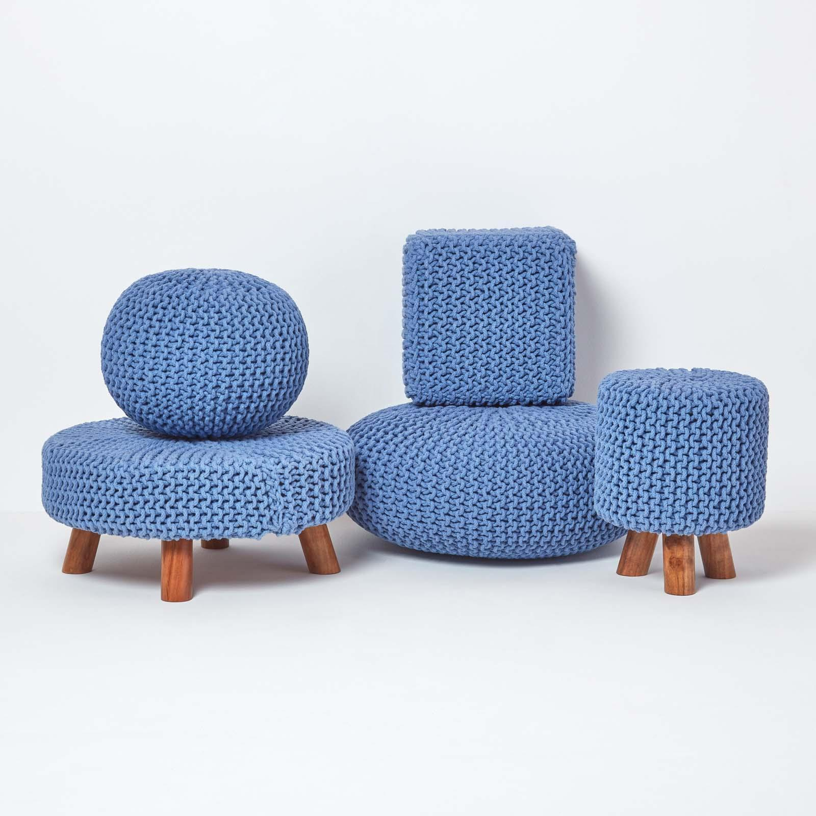 Hand-Knitted-100-Cotton-Pouffes-Round-Sphere-Or-Cube-Square-Chunky-Footstools thumbnail 25