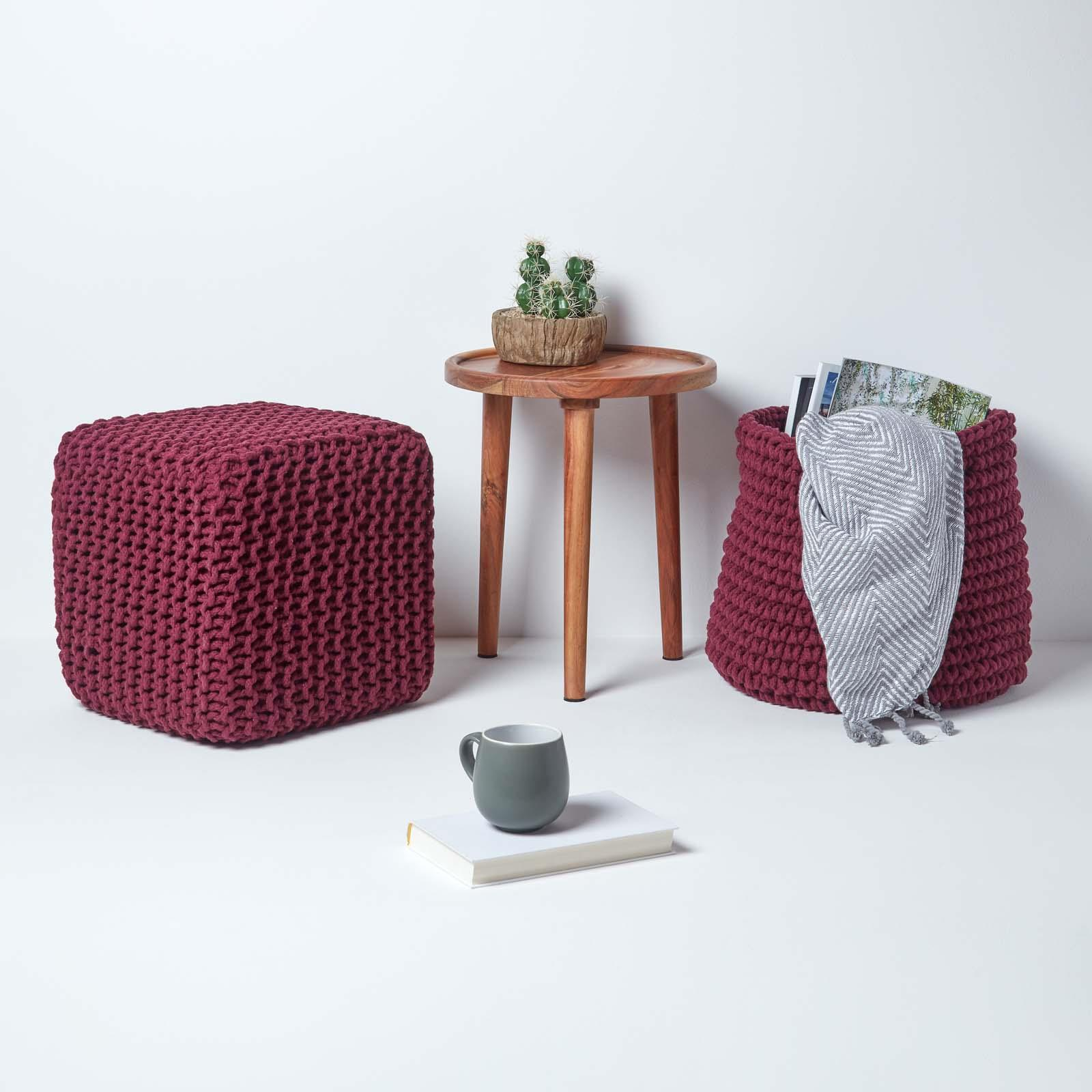 Hand-Knitted-100-Cotton-Pouffes-Round-Sphere-Or-Cube-Square-Chunky-Footstools thumbnail 162