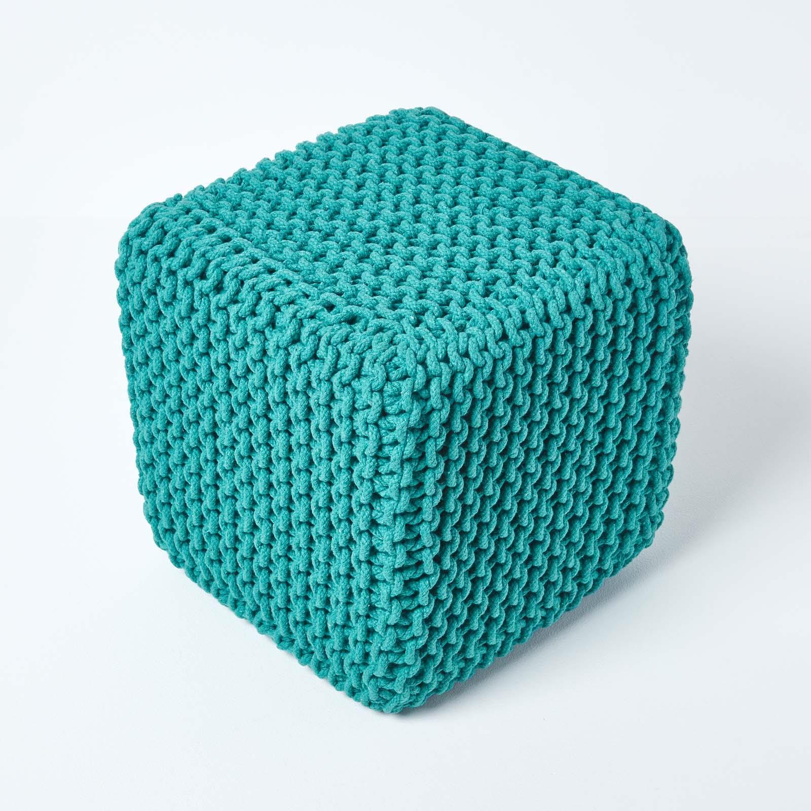 Hand-Knitted-100-Cotton-Pouffes-Round-Sphere-Or-Cube-Square-Chunky-Footstools thumbnail 200