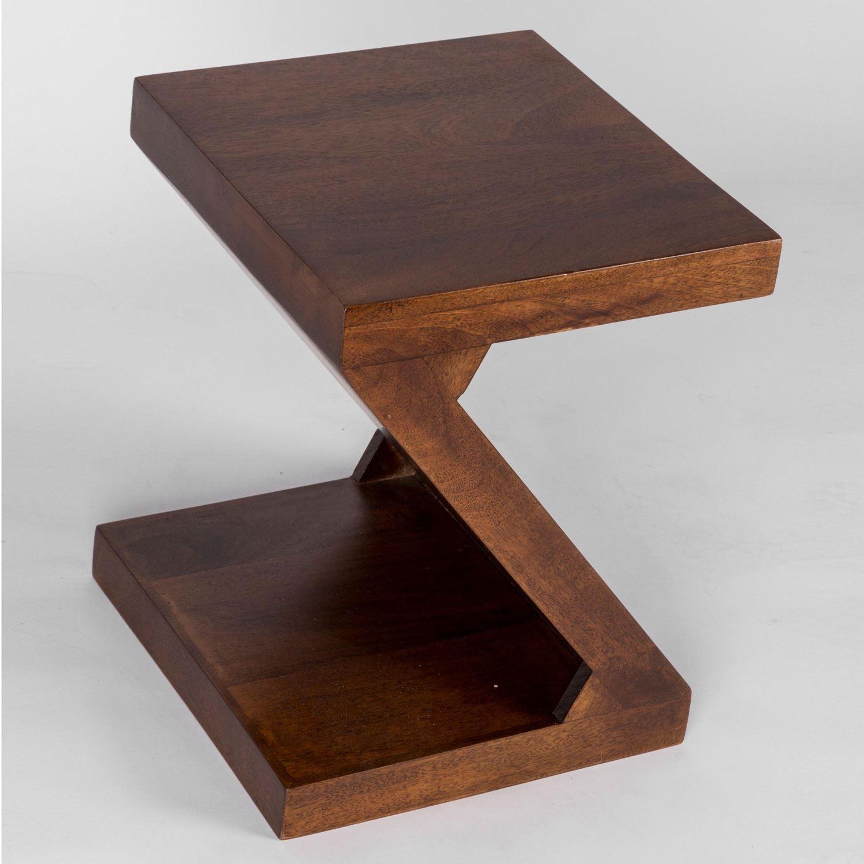 dakota z shaped side end table handcrafted 100 solid mango wood ebay. Black Bedroom Furniture Sets. Home Design Ideas