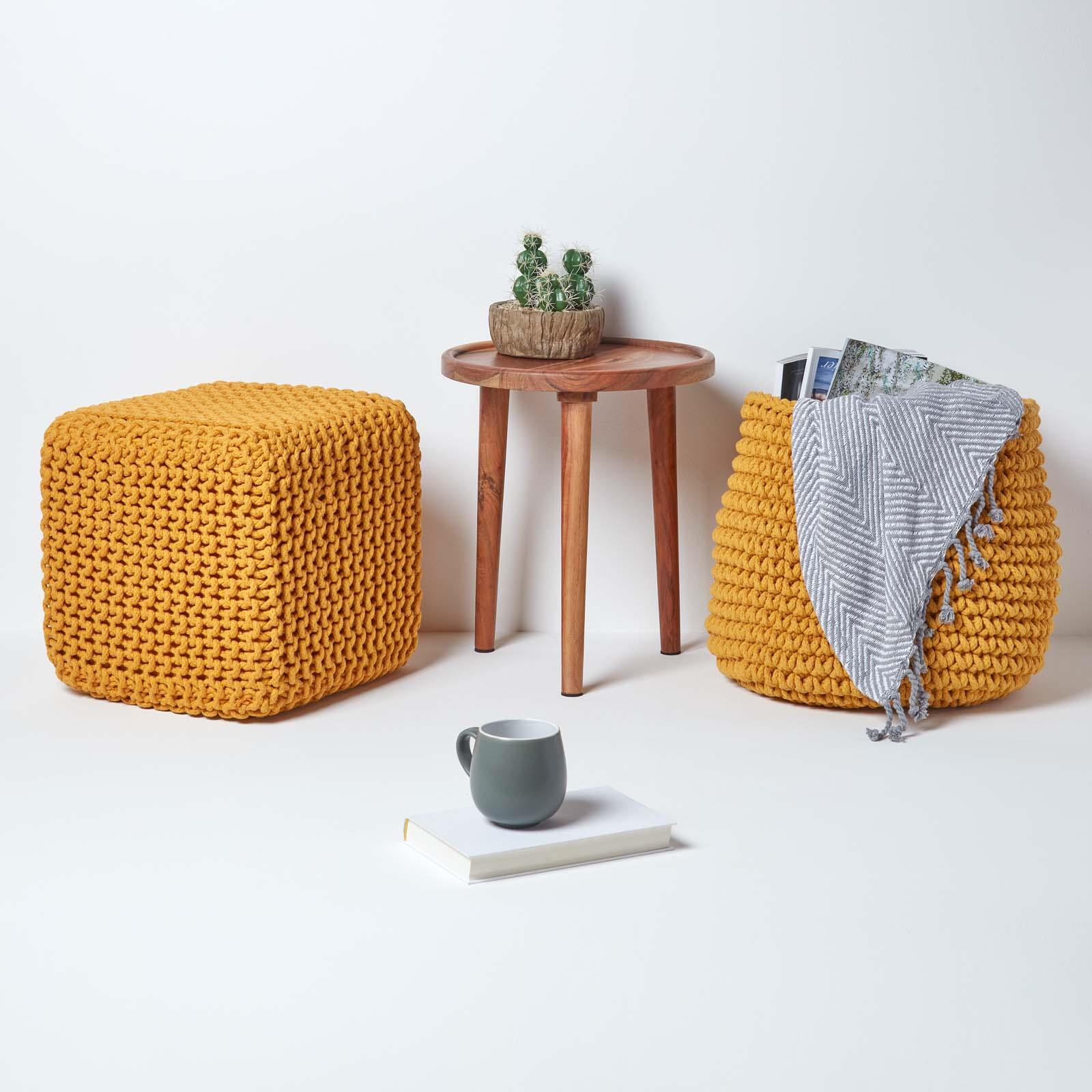 Hand-Knitted-100-Cotton-Pouffes-Round-Sphere-Or-Cube-Square-Chunky-Footstools thumbnail 90