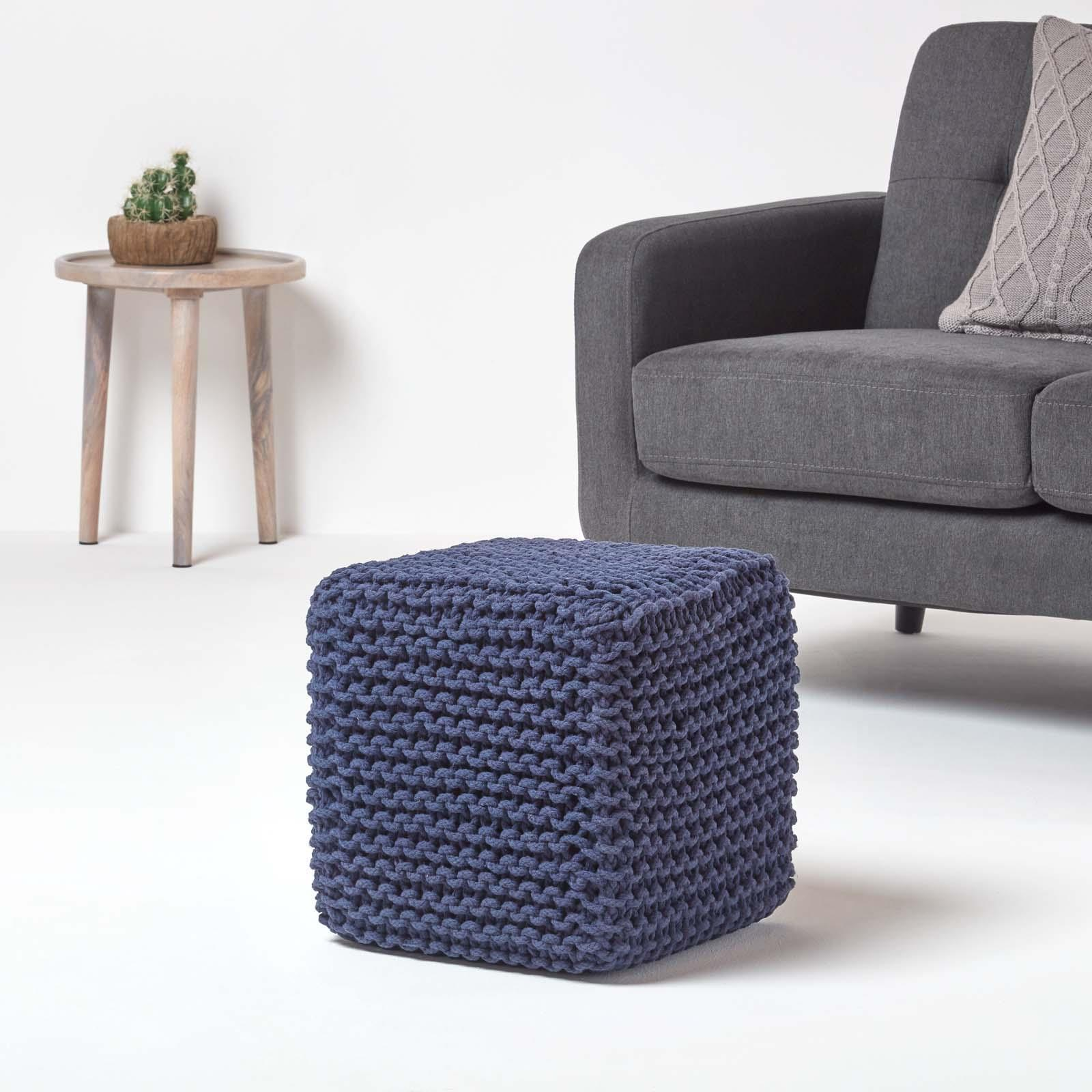 Hand-Knitted-100-Cotton-Pouffes-Round-Sphere-Or-Cube-Square-Chunky-Footstools thumbnail 110