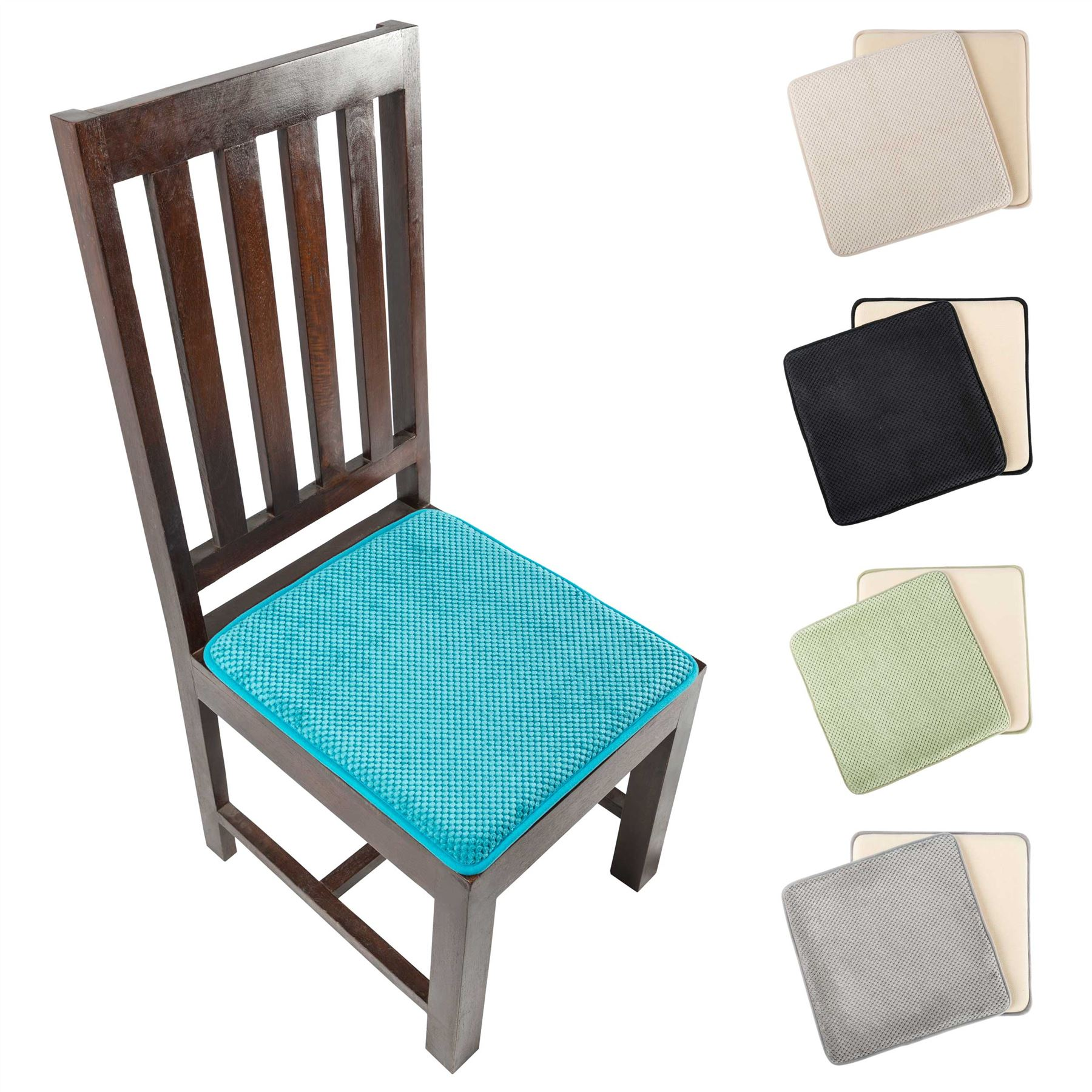 Details about memory foam seat pads square dining chair booster riser floor cushion set of 2