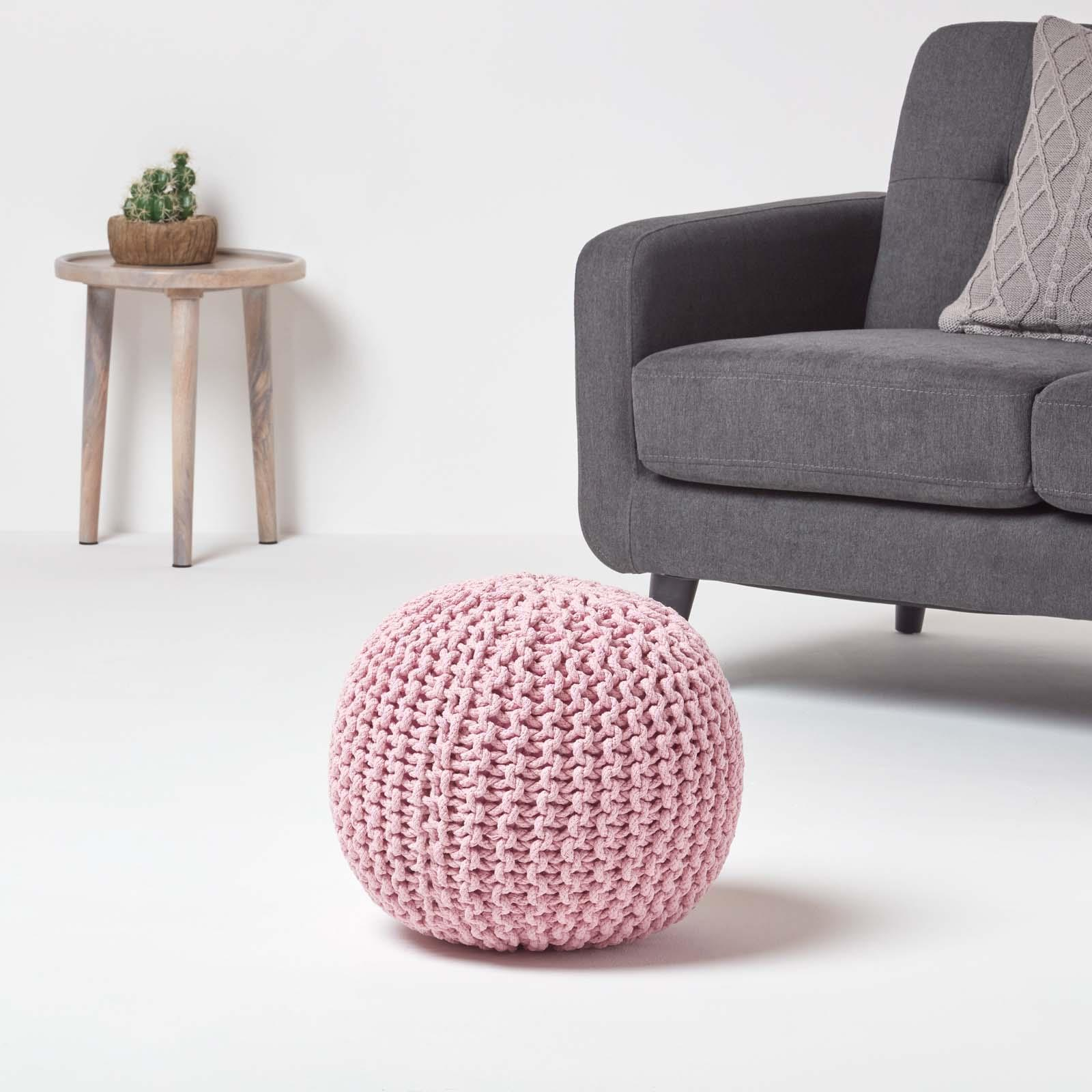 Hand-Knitted-100-Cotton-Pouffes-Round-Sphere-Or-Cube-Square-Chunky-Footstools thumbnail 141