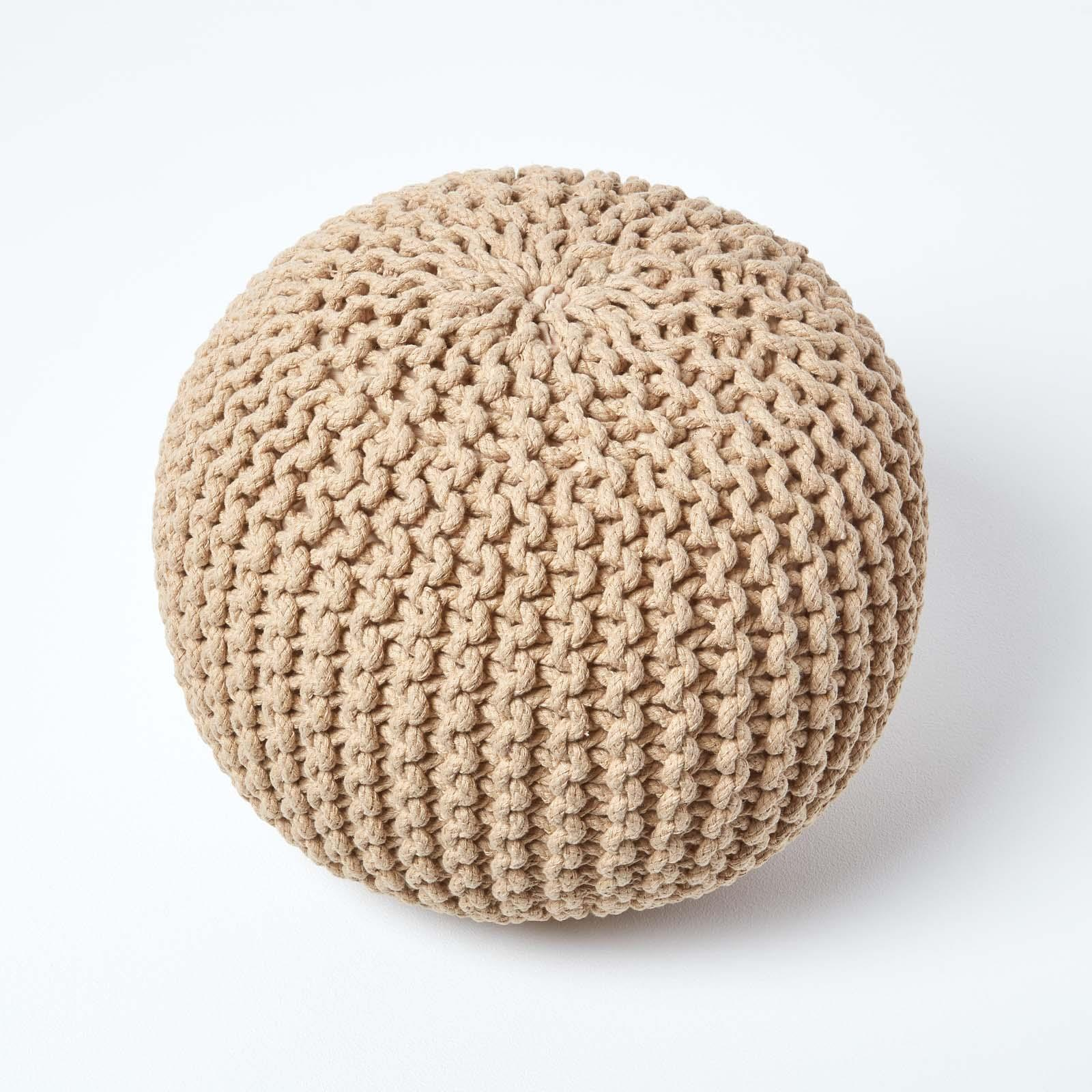 Hand-Knitted-100-Cotton-Pouffes-Round-Sphere-Or-Cube-Square-Chunky-Footstools thumbnail 81