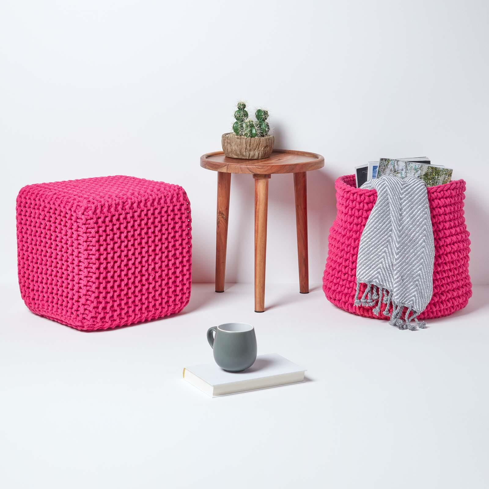 Hand-Knitted-100-Cotton-Pouffes-Round-Sphere-Or-Cube-Square-Chunky-Footstools thumbnail 72