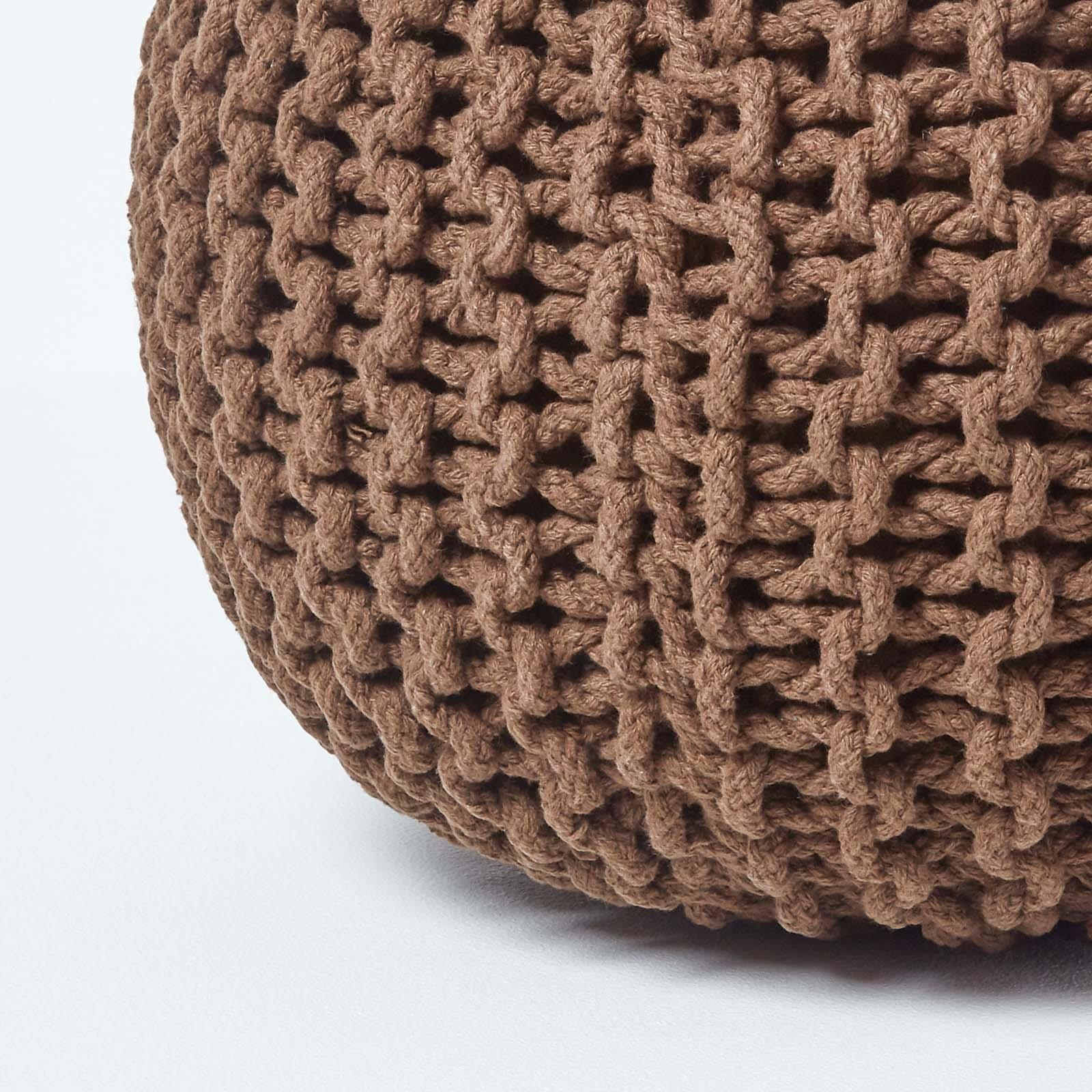 Hand-Knitted-100-Cotton-Pouffes-Round-Sphere-Or-Cube-Square-Chunky-Footstools thumbnail 36