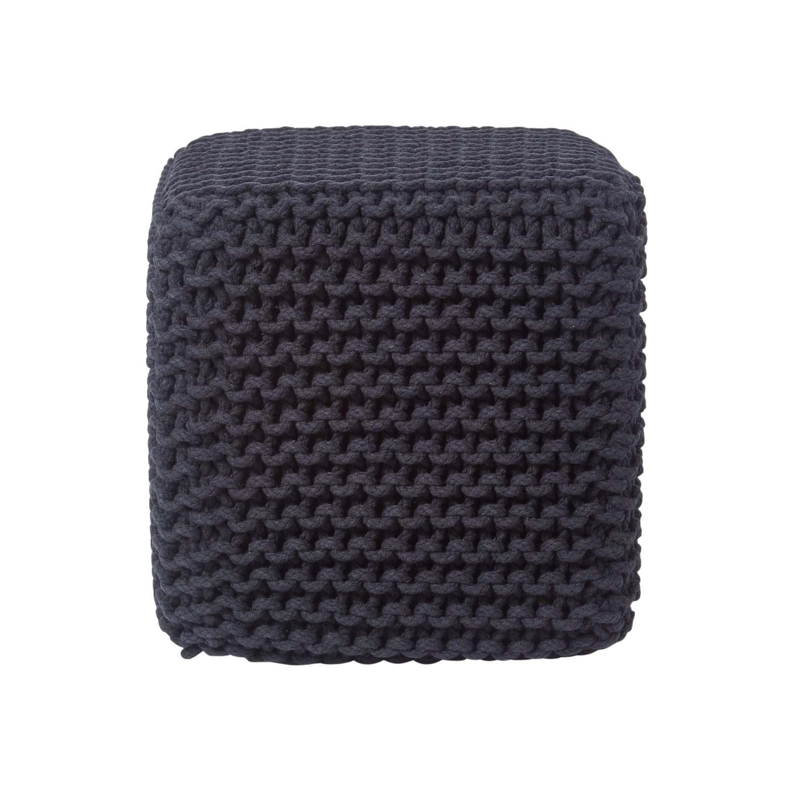 Hand-Knitted-100-Cotton-Pouffes-Round-Sphere-Or-Cube-Square-Chunky-Footstools thumbnail 4