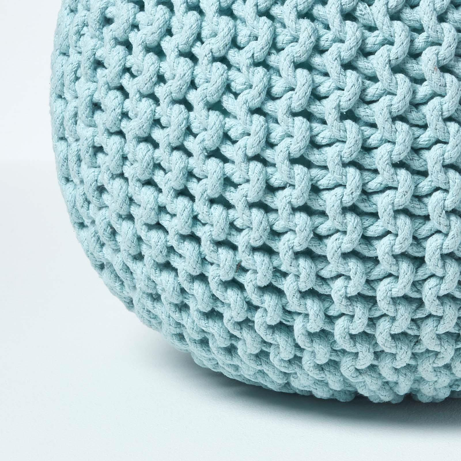 Hand-Knitted-100-Cotton-Pouffes-Round-Sphere-Or-Cube-Square-Chunky-Footstools thumbnail 131
