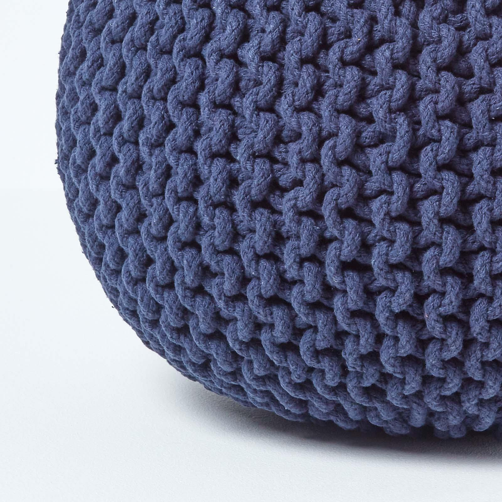 Hand-Knitted-100-Cotton-Pouffes-Round-Sphere-Or-Cube-Square-Chunky-Footstools thumbnail 107