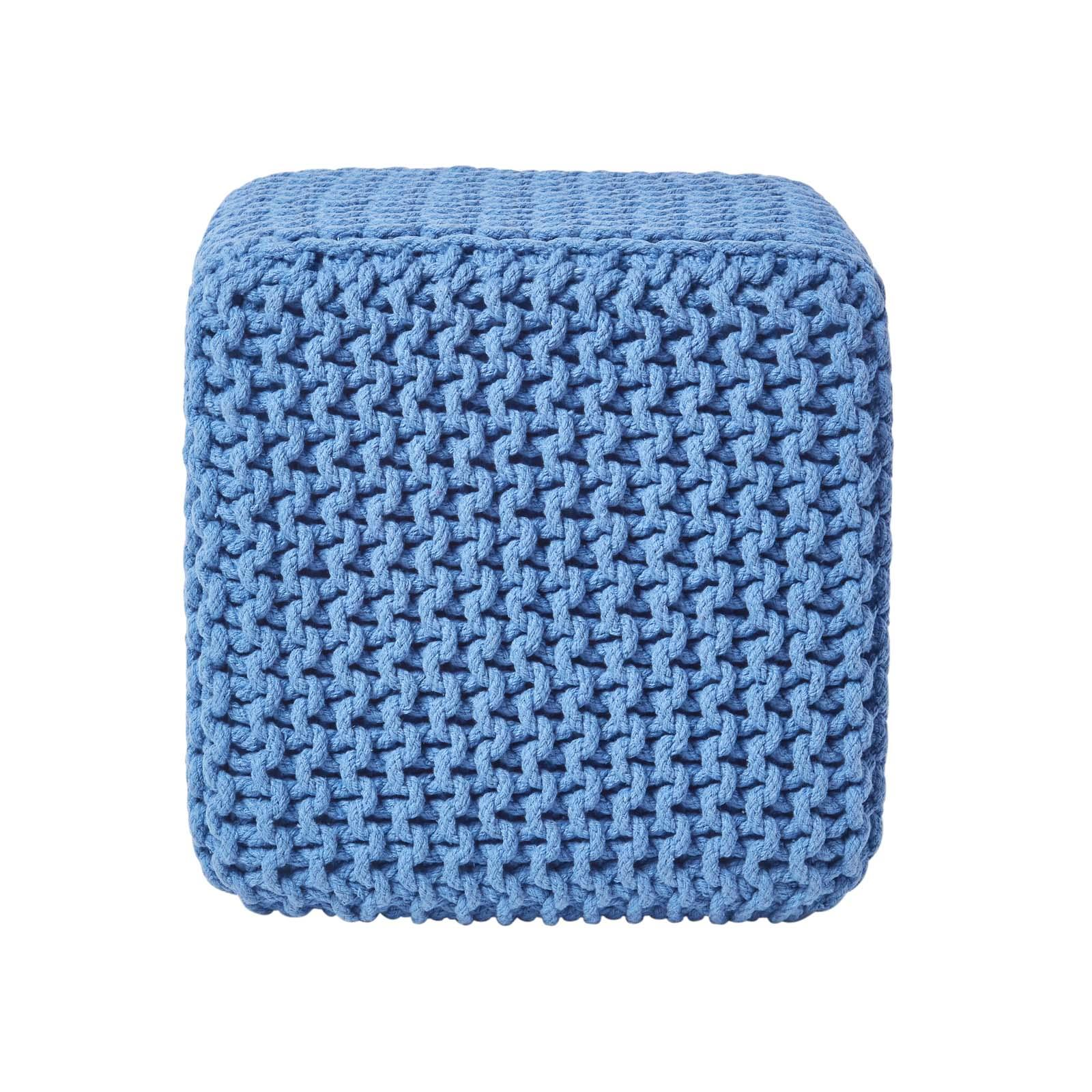 Hand-Knitted-100-Cotton-Pouffes-Round-Sphere-Or-Cube-Square-Chunky-Footstools thumbnail 16