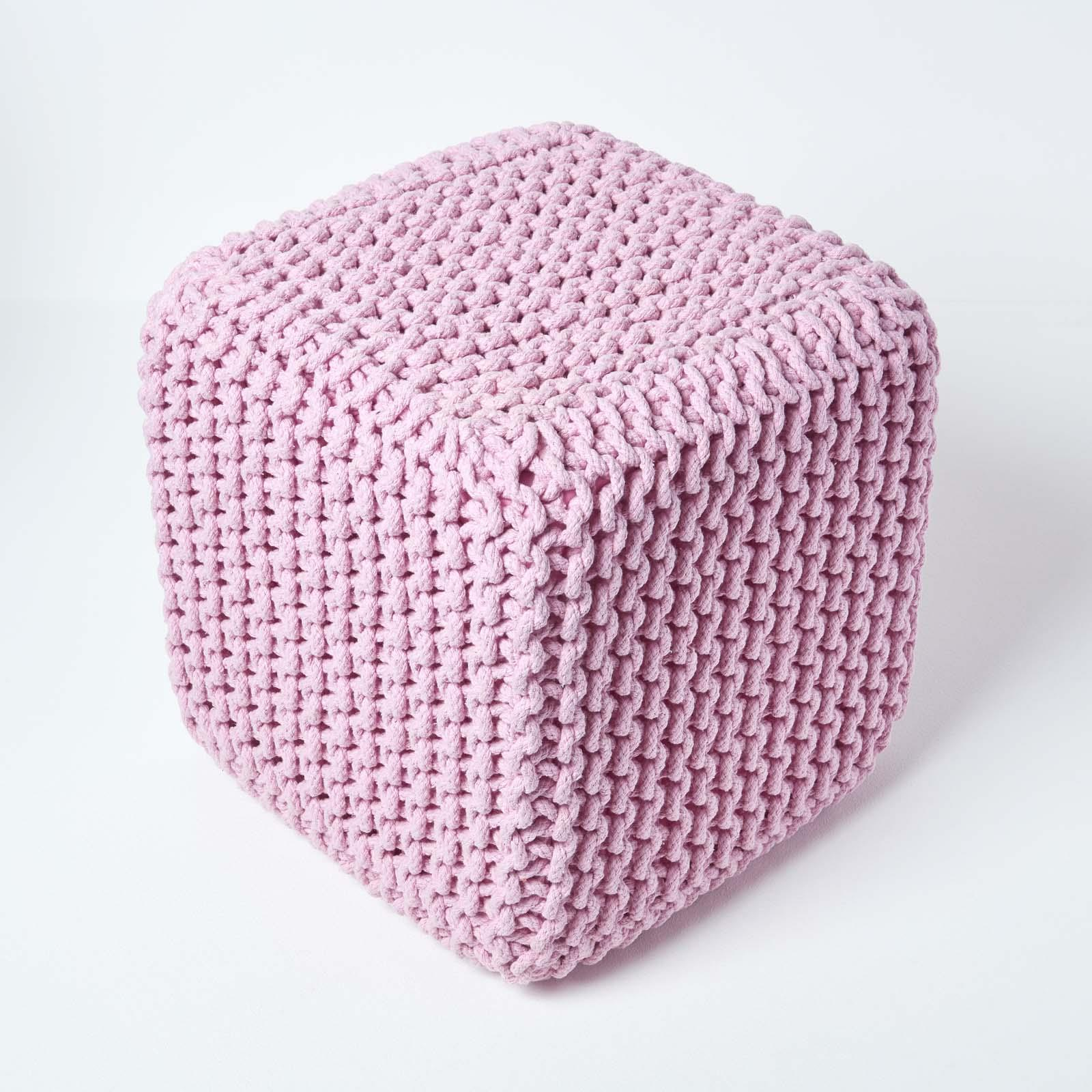 Hand-Knitted-100-Cotton-Pouffes-Round-Sphere-Or-Cube-Square-Chunky-Footstools thumbnail 147
