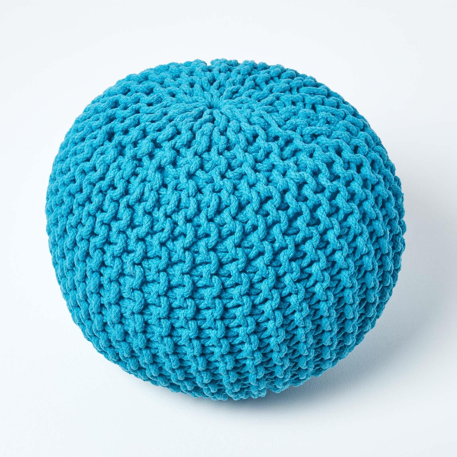 Hand-Knitted-100-Cotton-Pouffes-Round-Sphere-Or-Cube-Square-Chunky-Footstools thumbnail 188