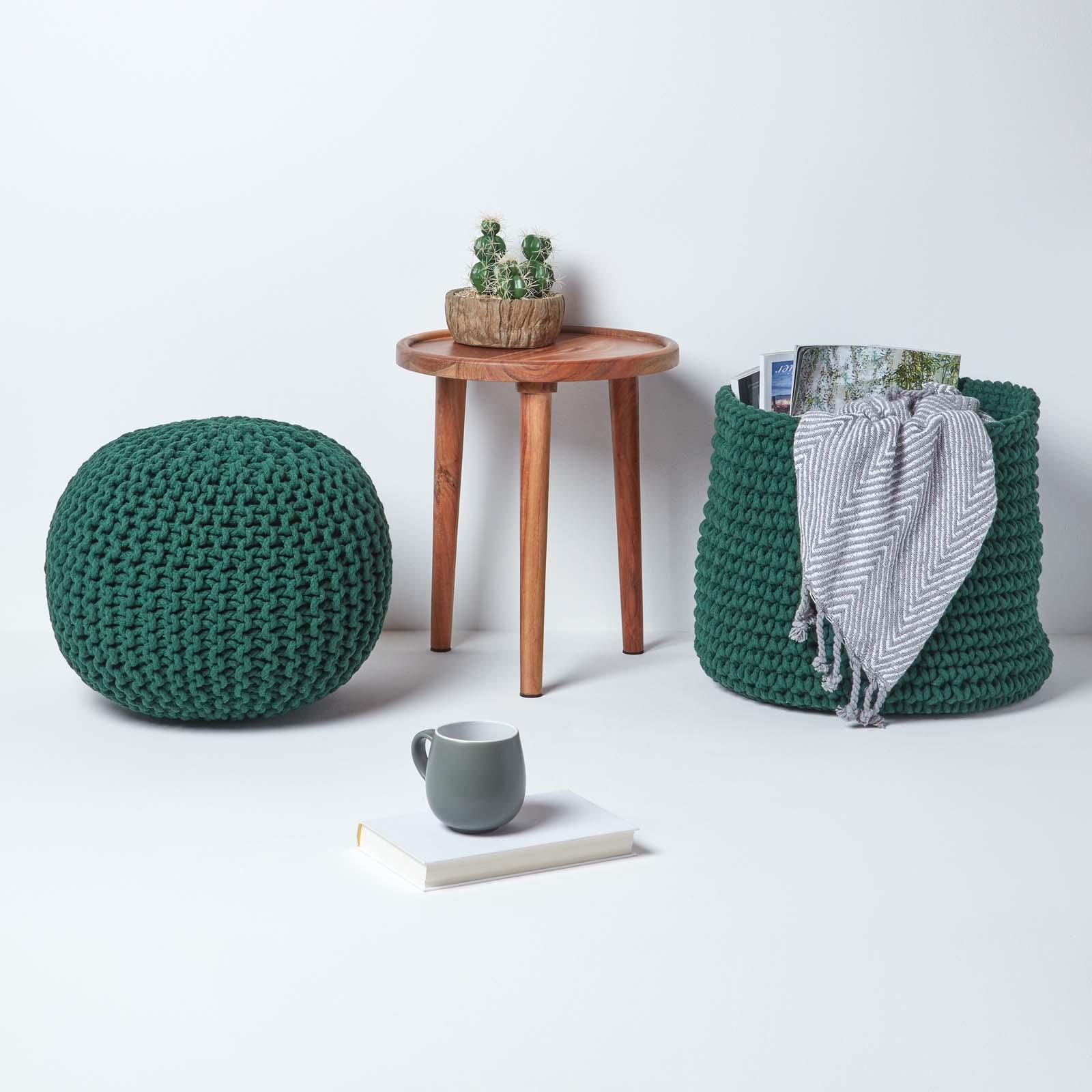 Hand-Knitted-100-Cotton-Pouffes-Round-Sphere-Or-Cube-Square-Chunky-Footstools thumbnail 49